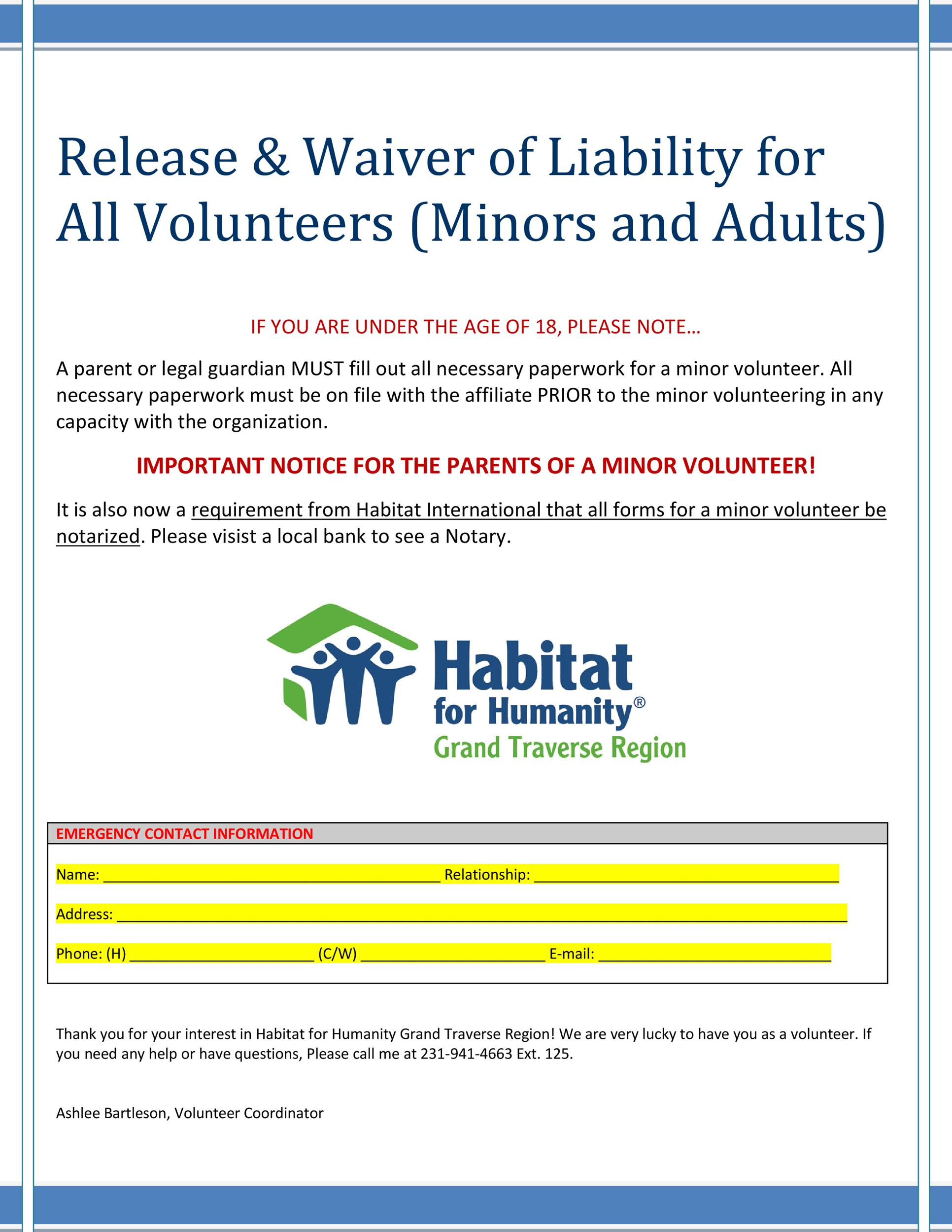 Free release of liability form 50