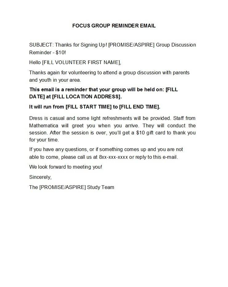 Free reminder email sample 01