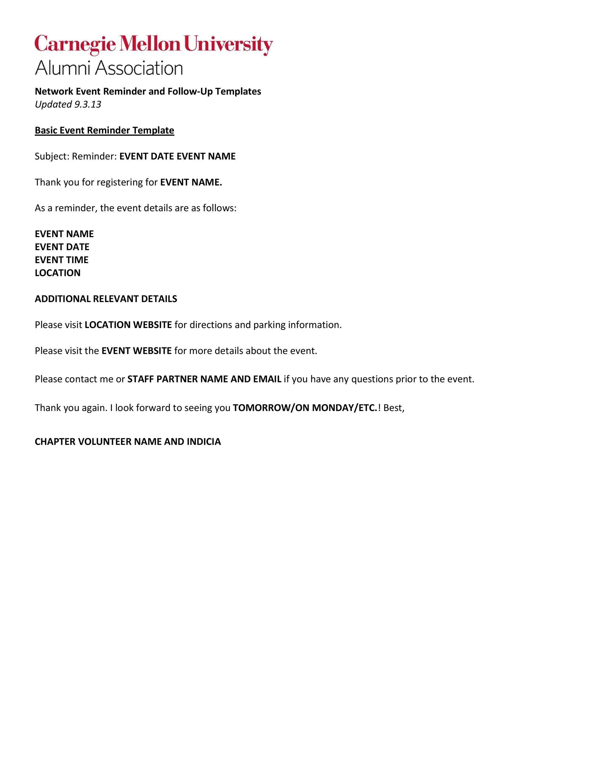 Free reminder email sample 03