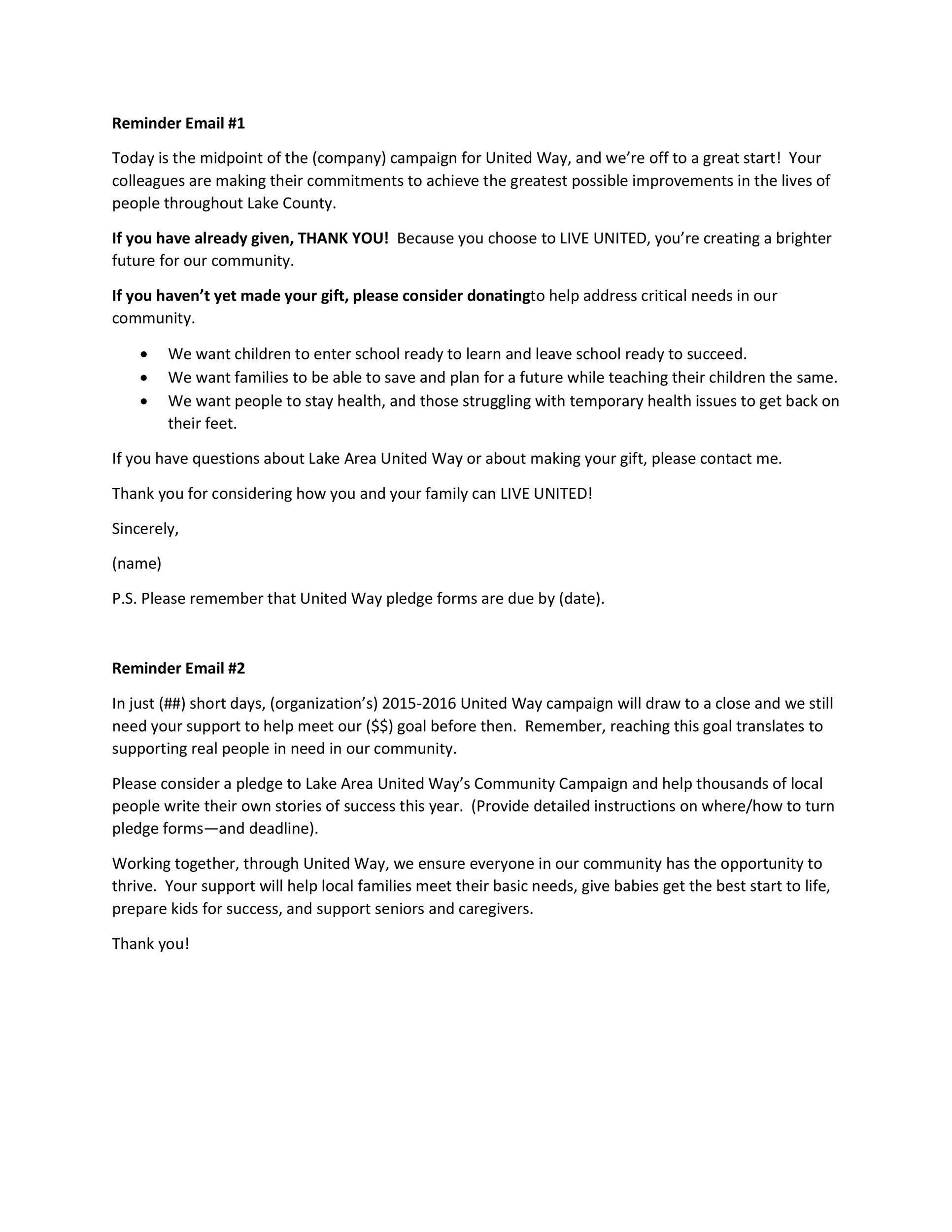 Free reminder email sample 04