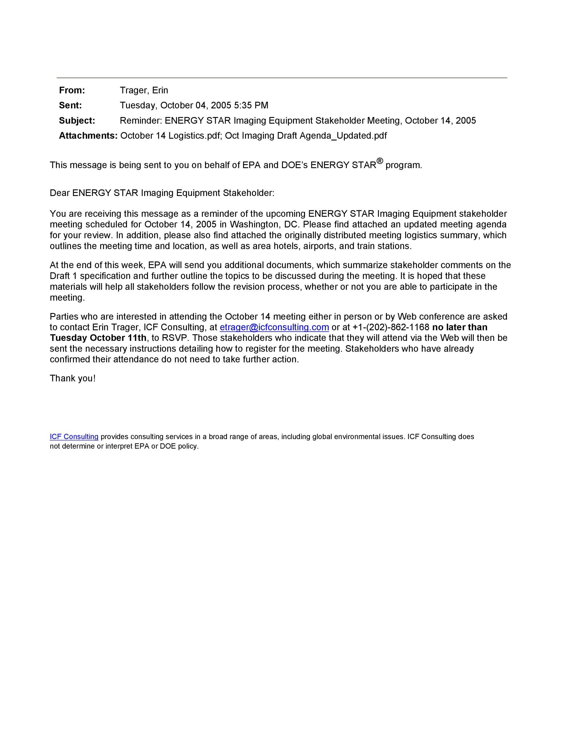Free reminder email sample 06