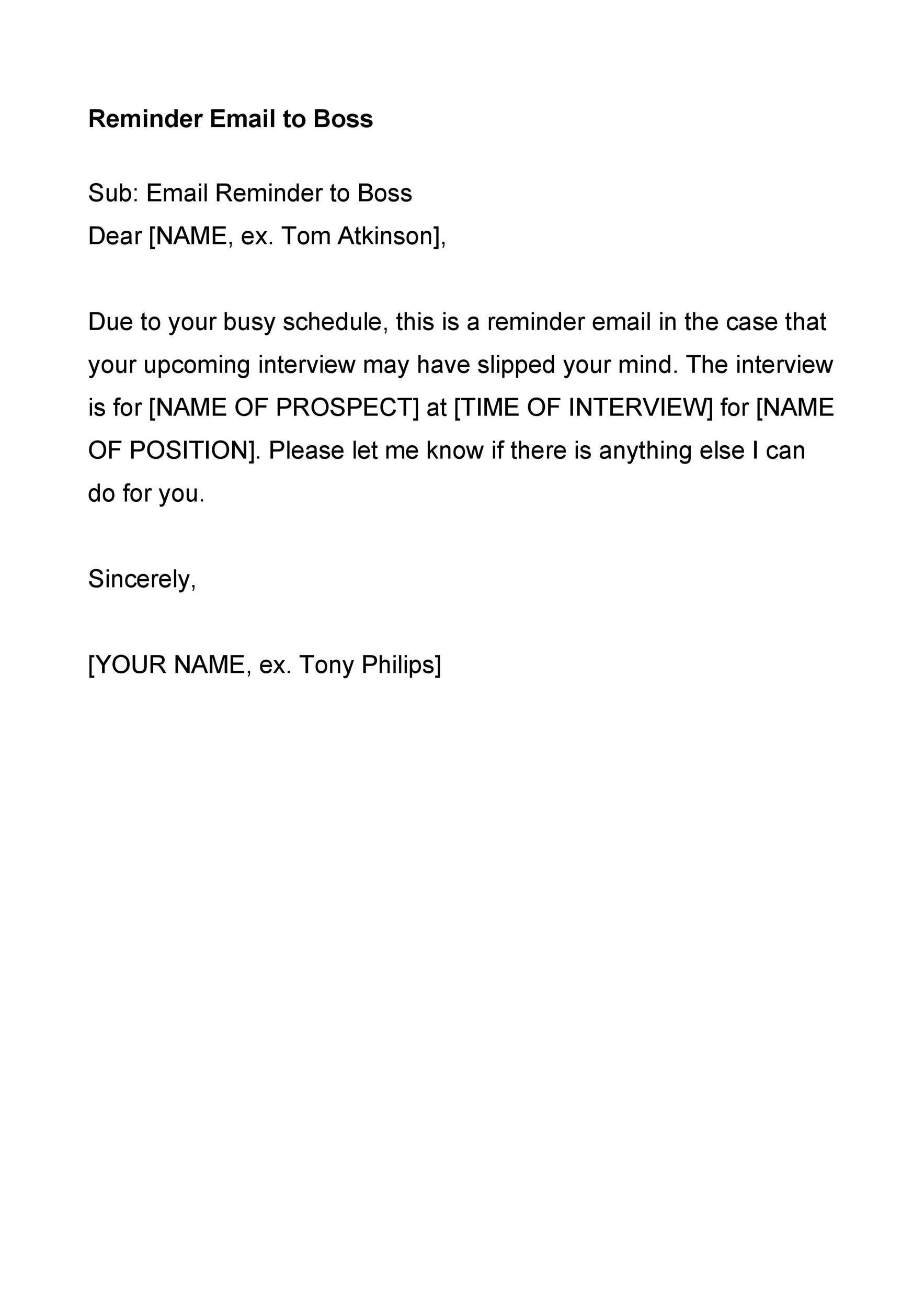 Free reminder email sample 09