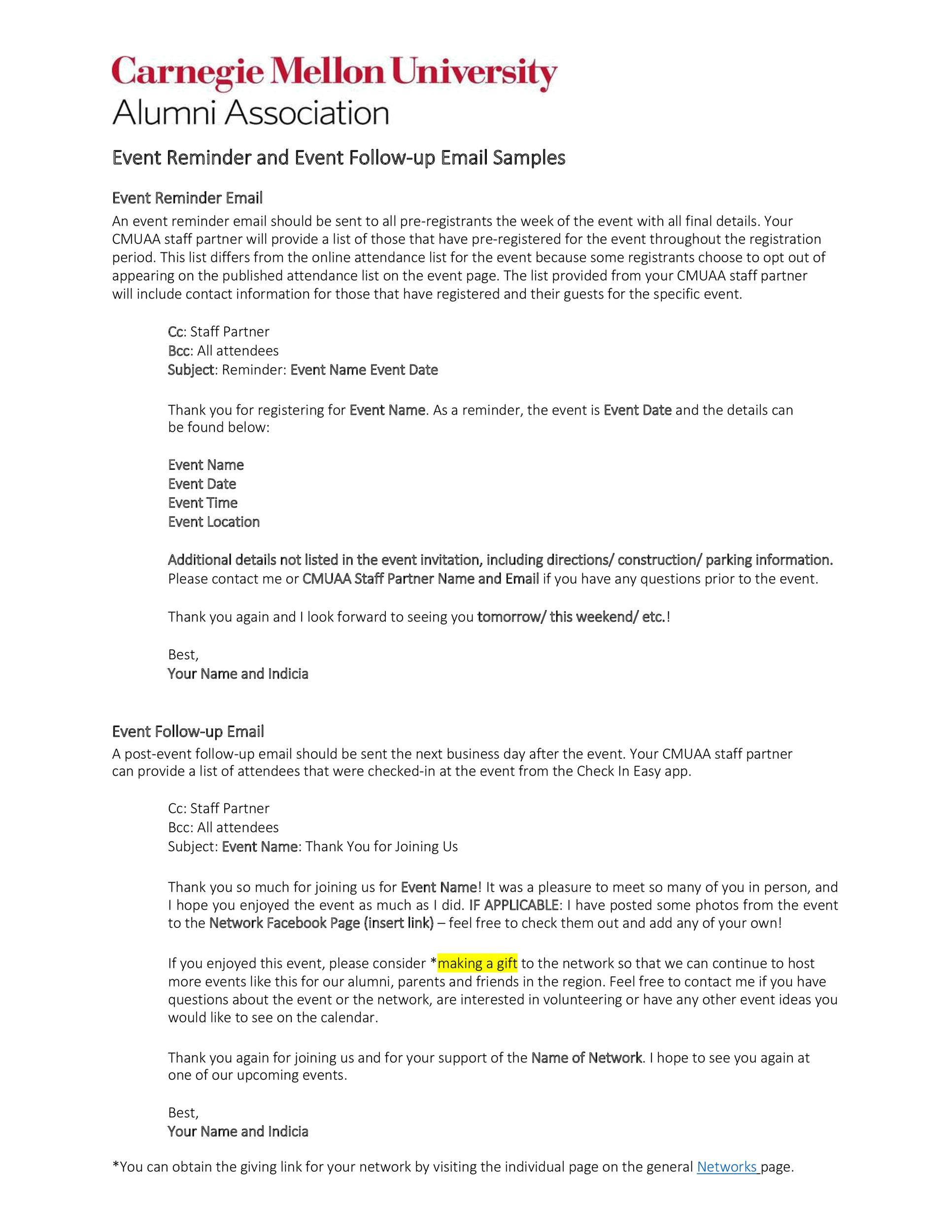 Free reminder email sample 10