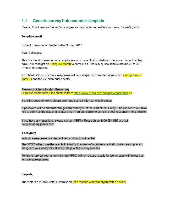 Free reminder email sample 12