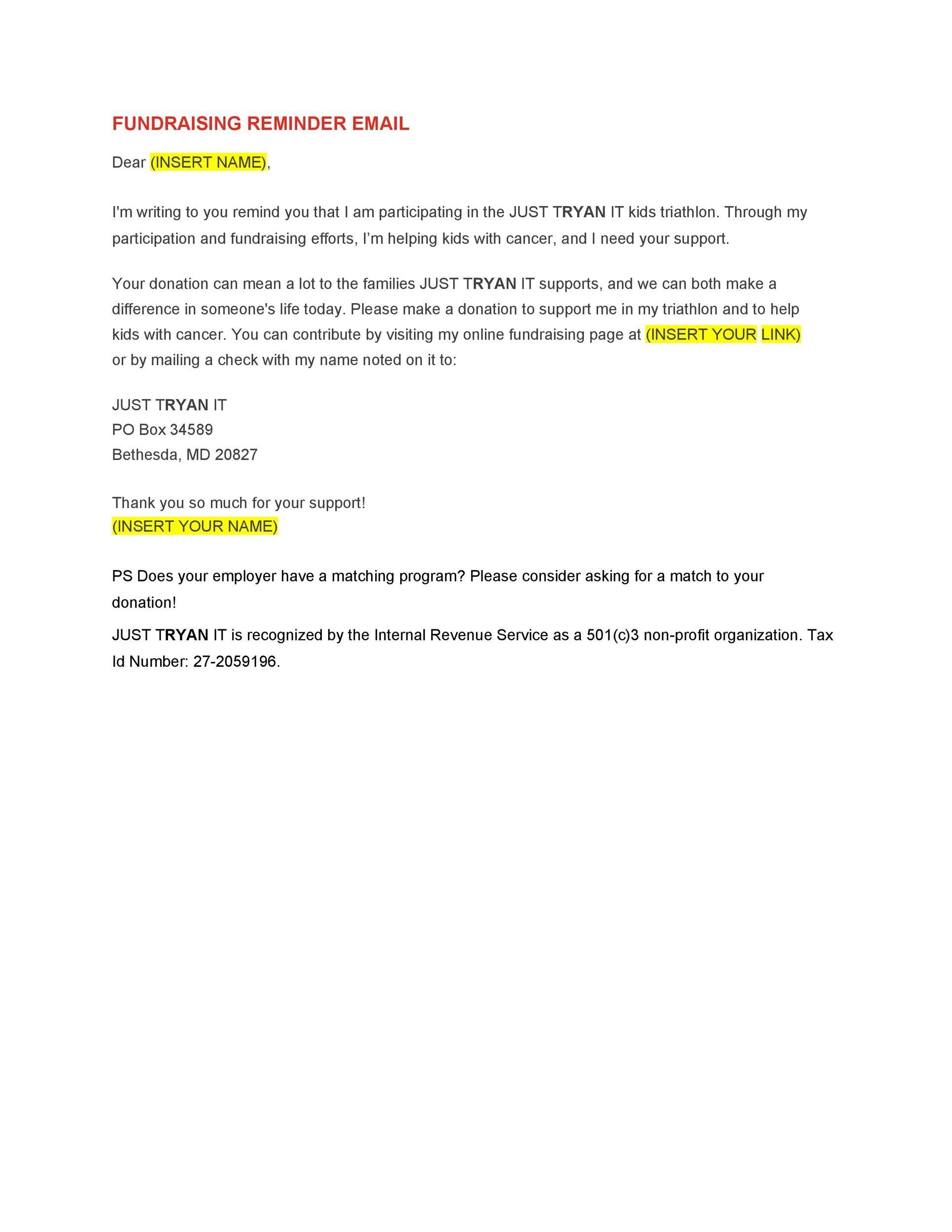 Free reminder email sample 16