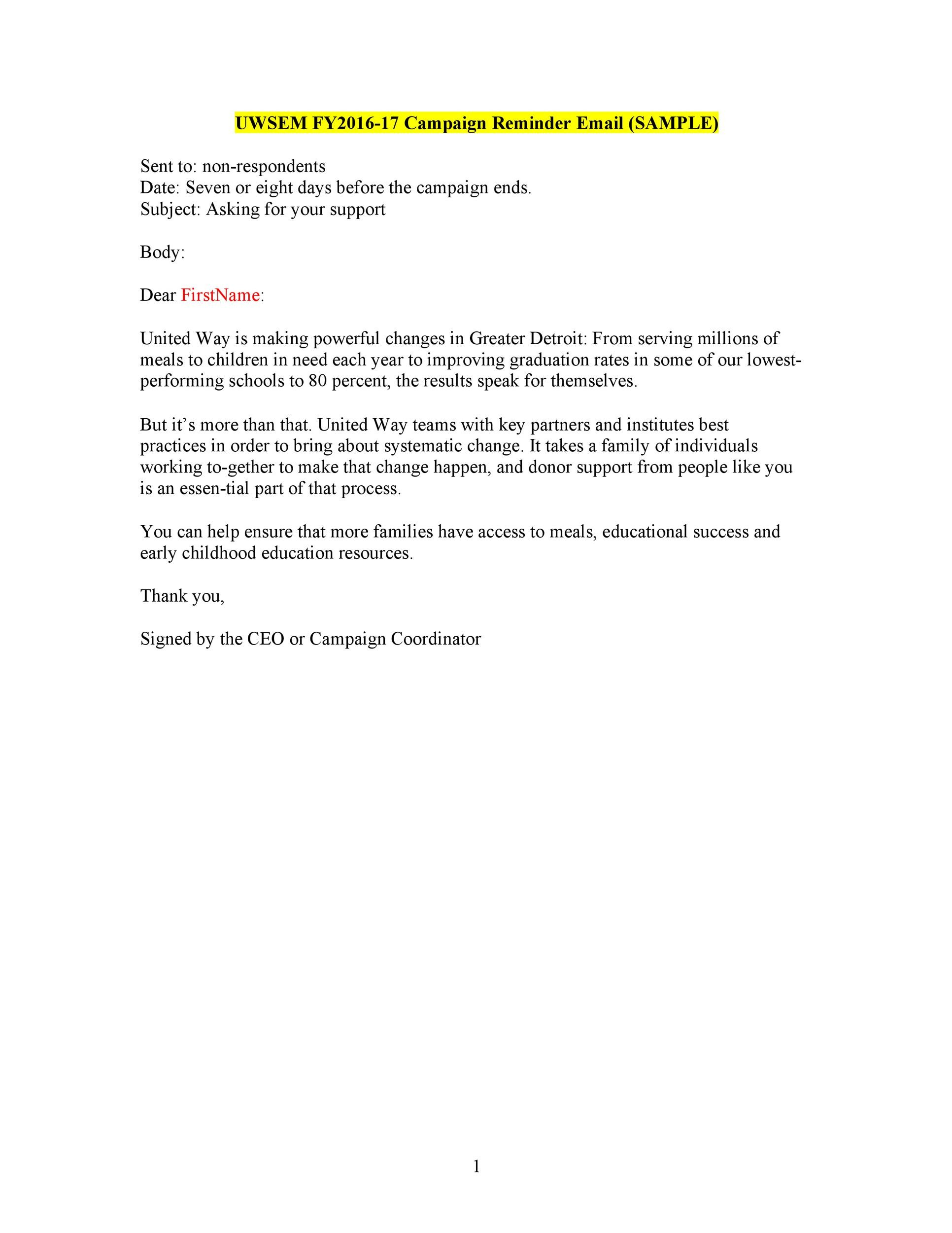 50 Polite Reminder Email Samples & Templates ᐅ Template Lab