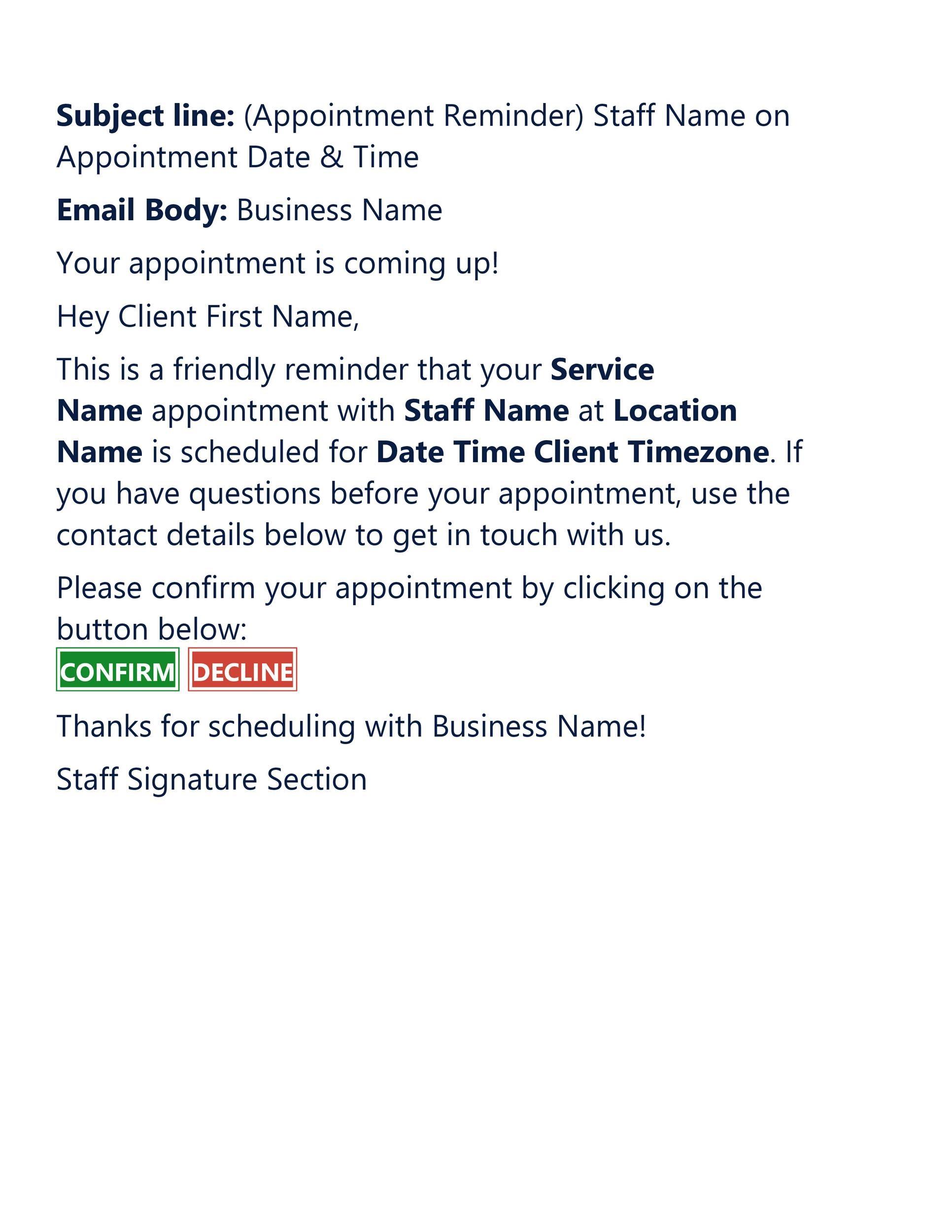 Free reminder email sample 22