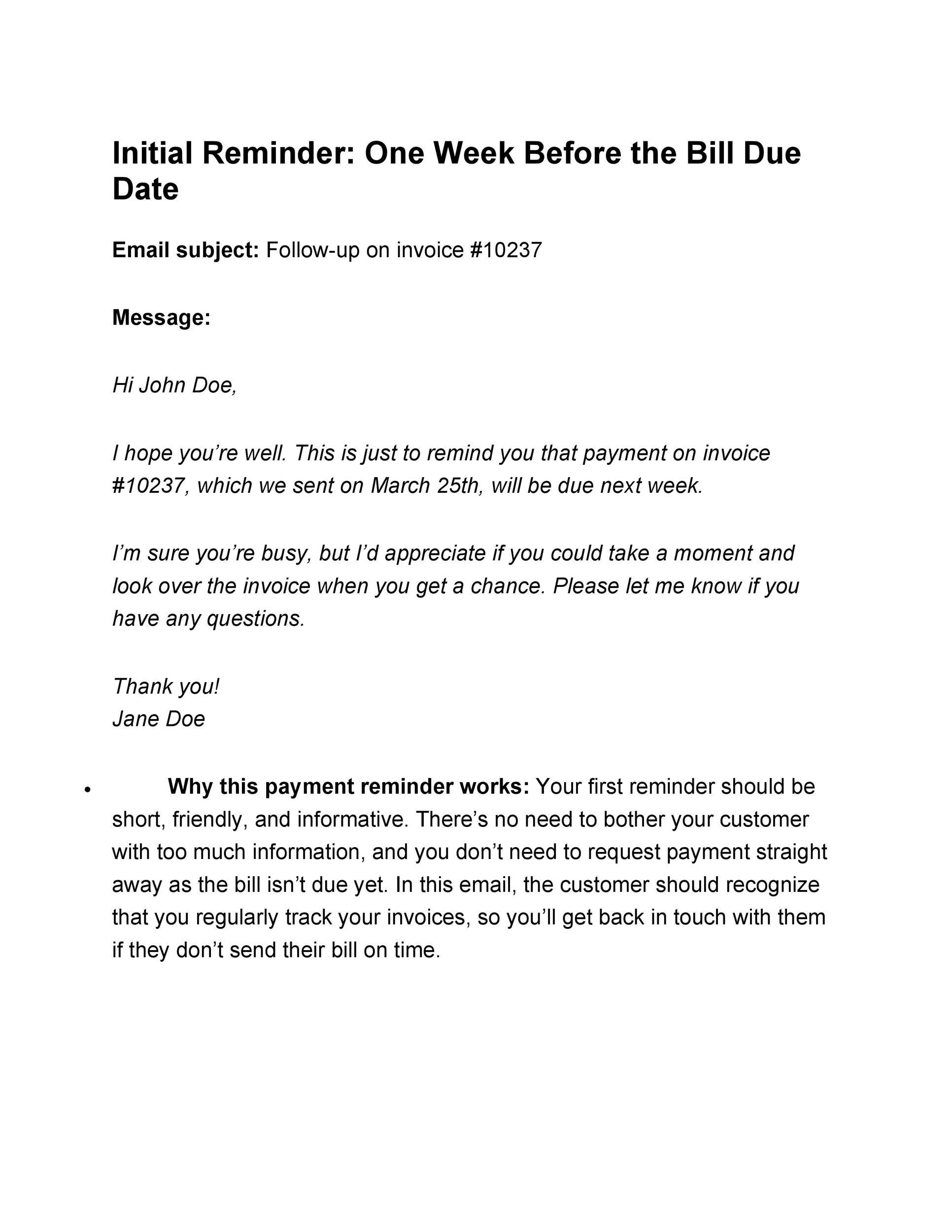 Free reminder email sample 28