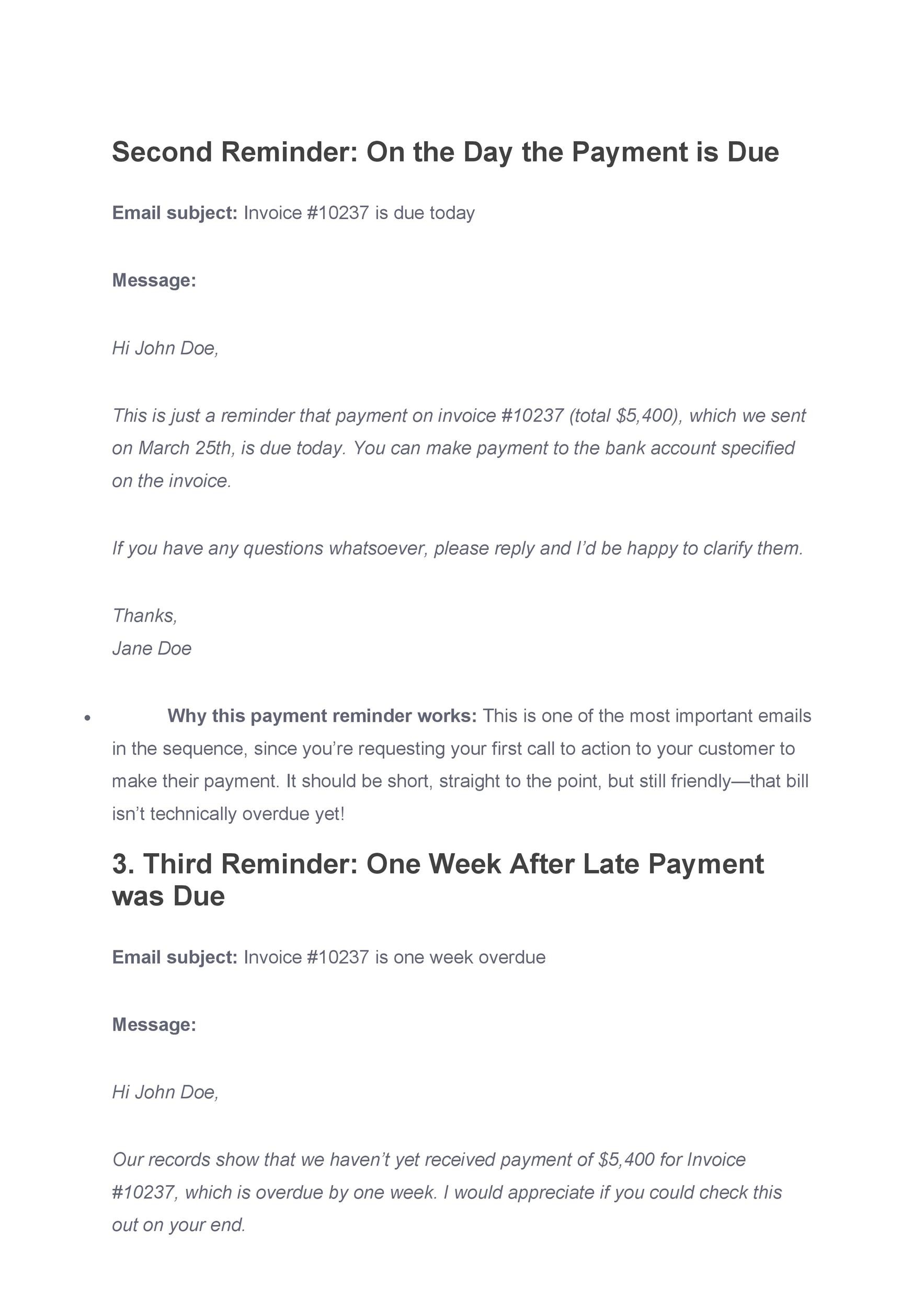 Free reminder email sample 30
