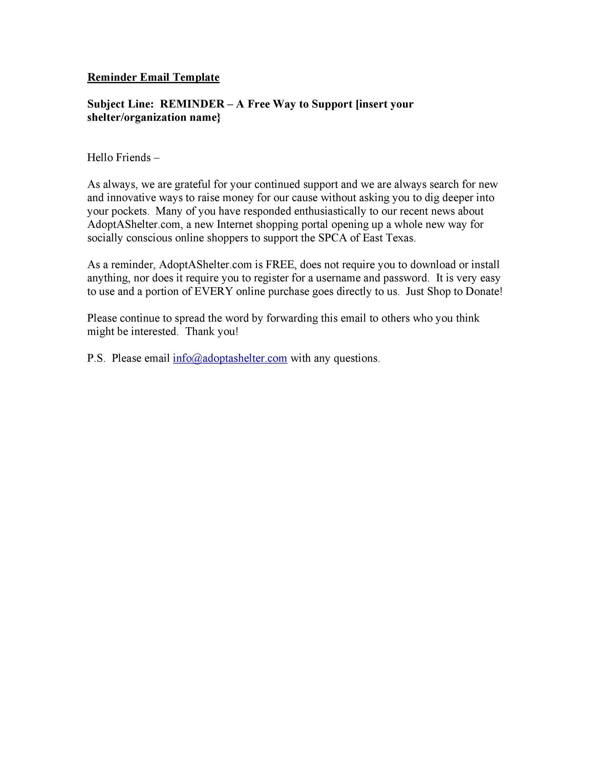 Free reminder email sample 31