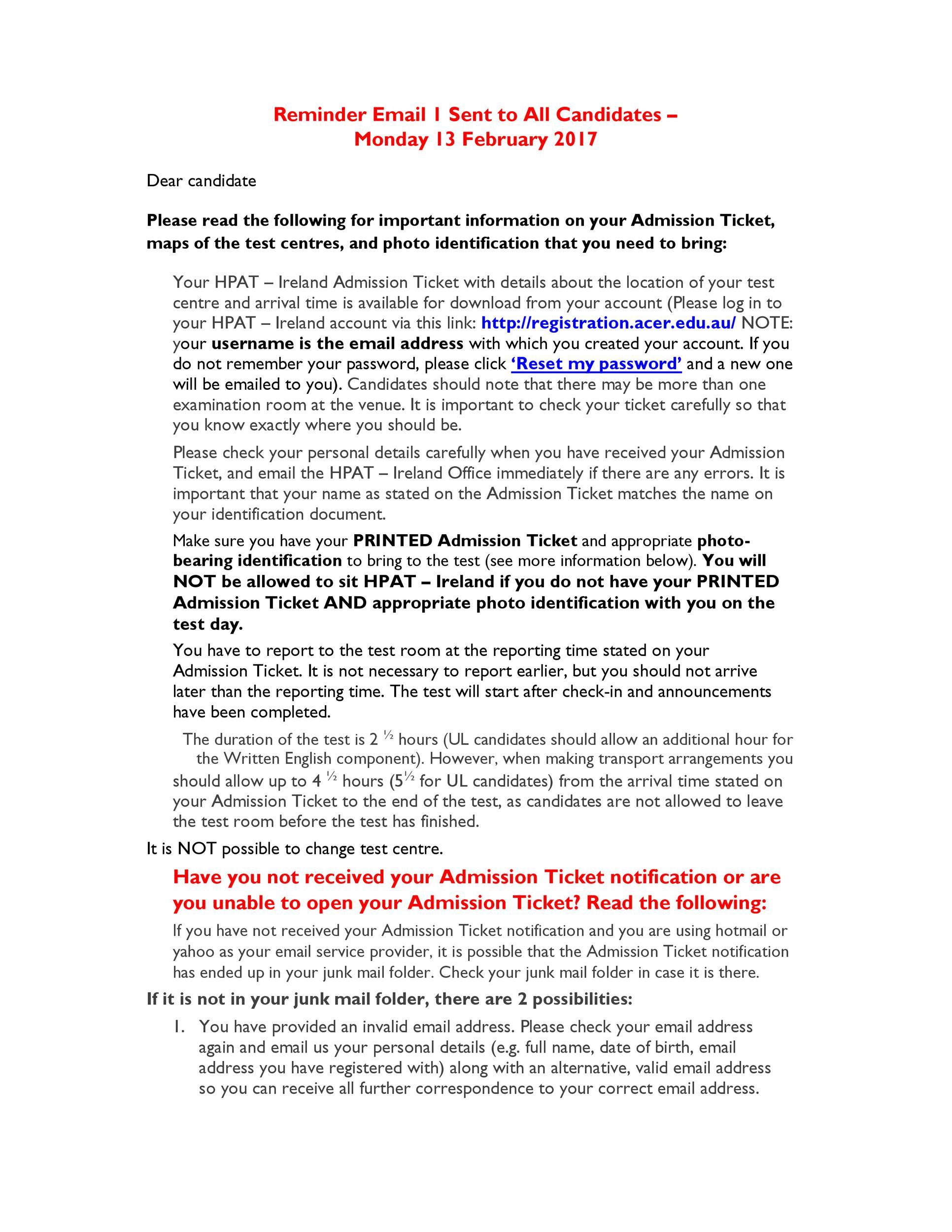 Free reminder email sample 33