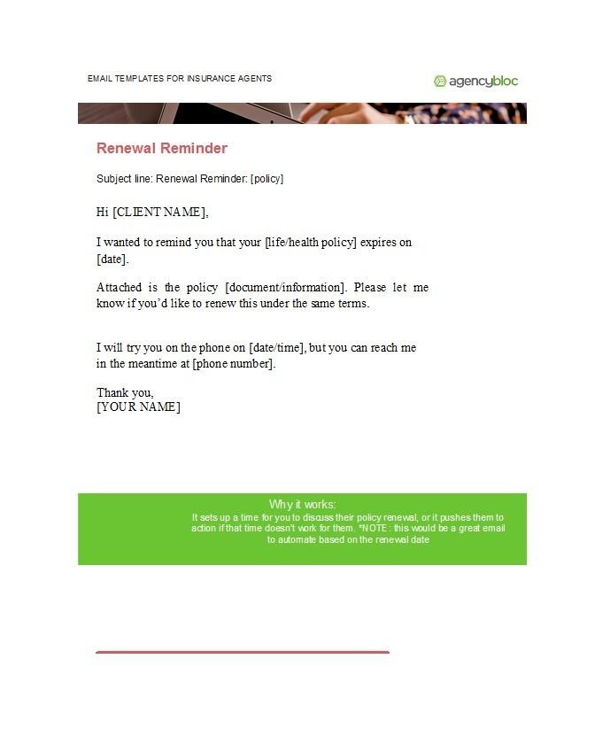 Free reminder email sample 34