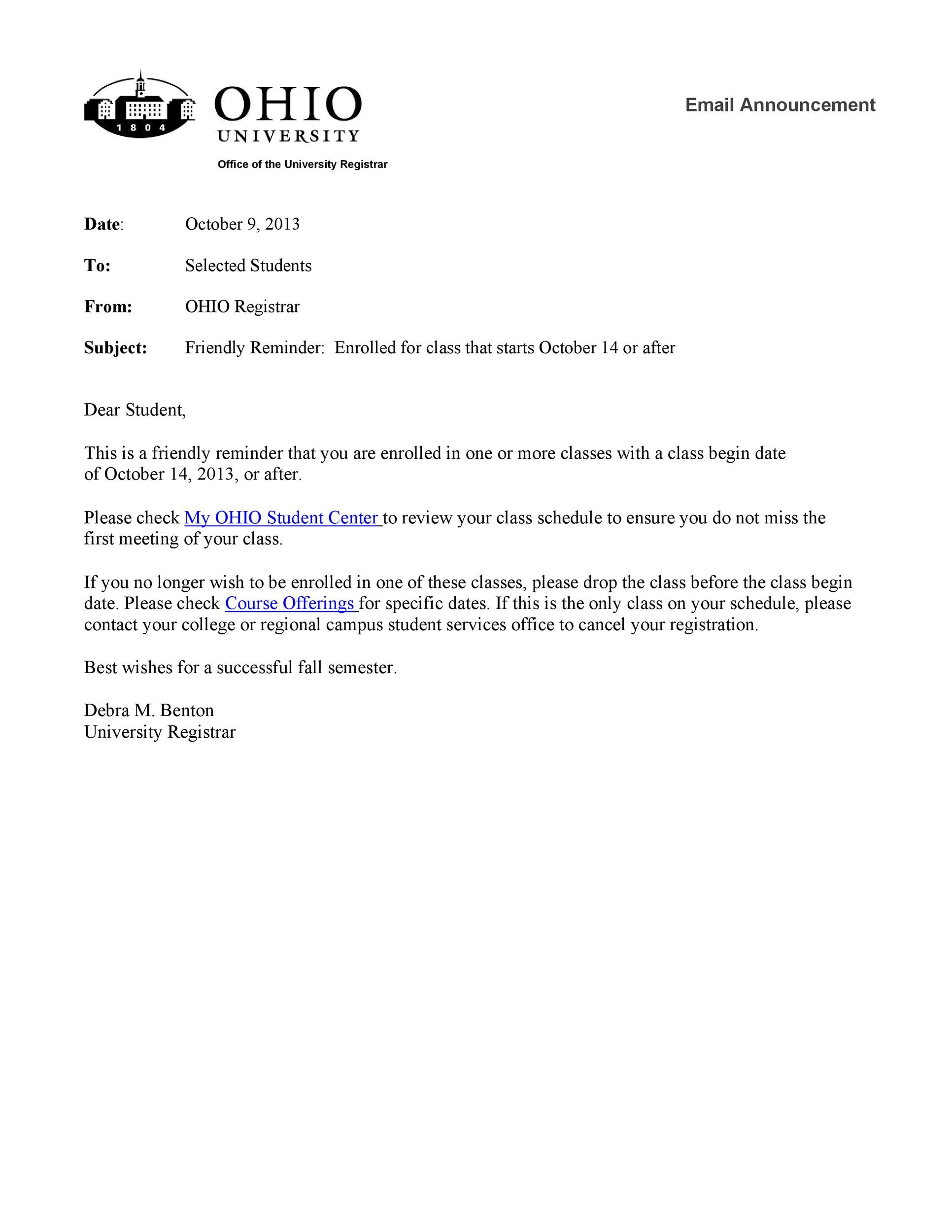 Free reminder email sample 35