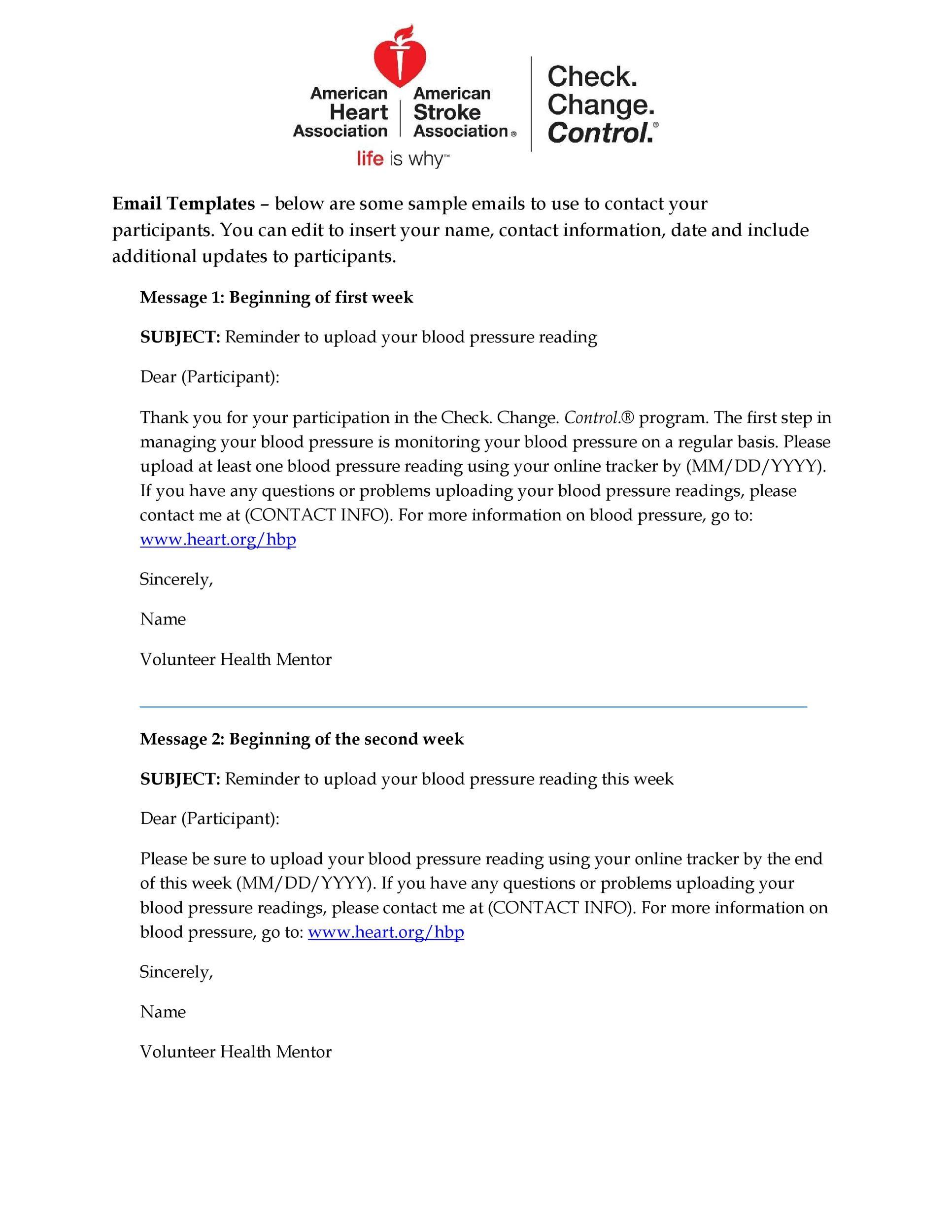 Free reminder email sample 37
