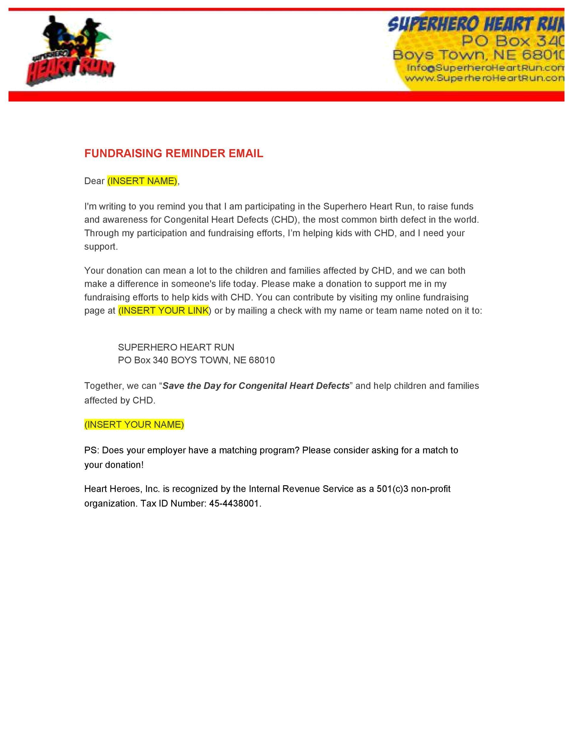 Free reminder email sample 39