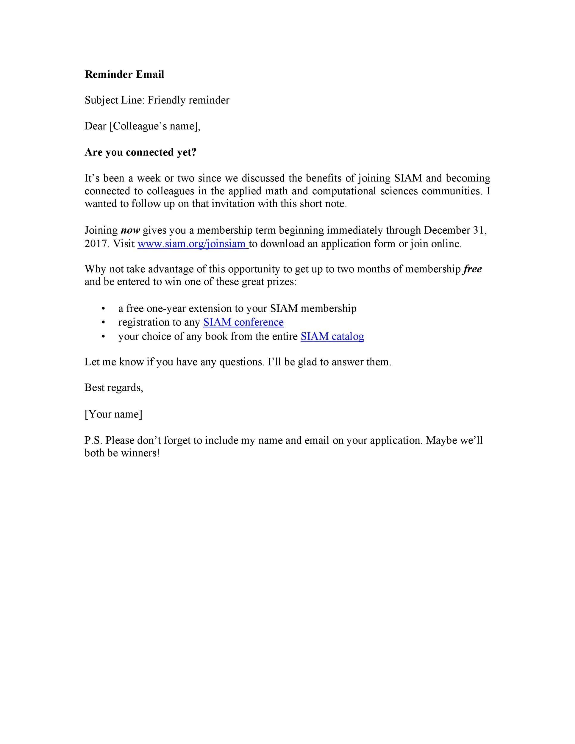 Free reminder email sample 43