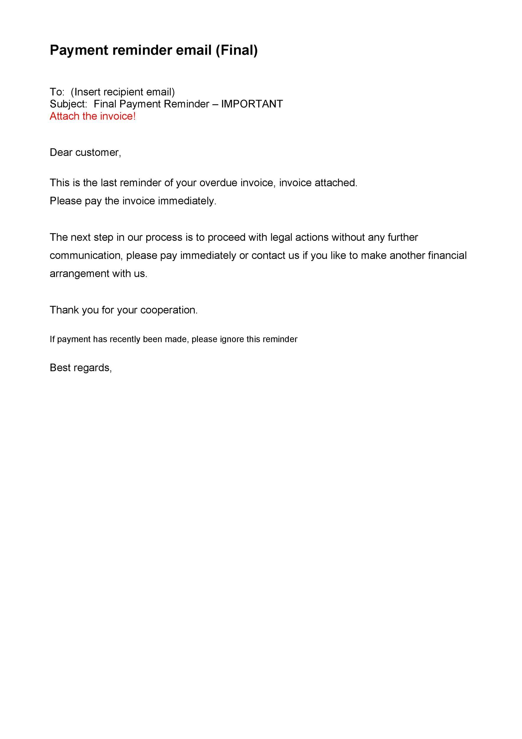 Free reminder email sample 45