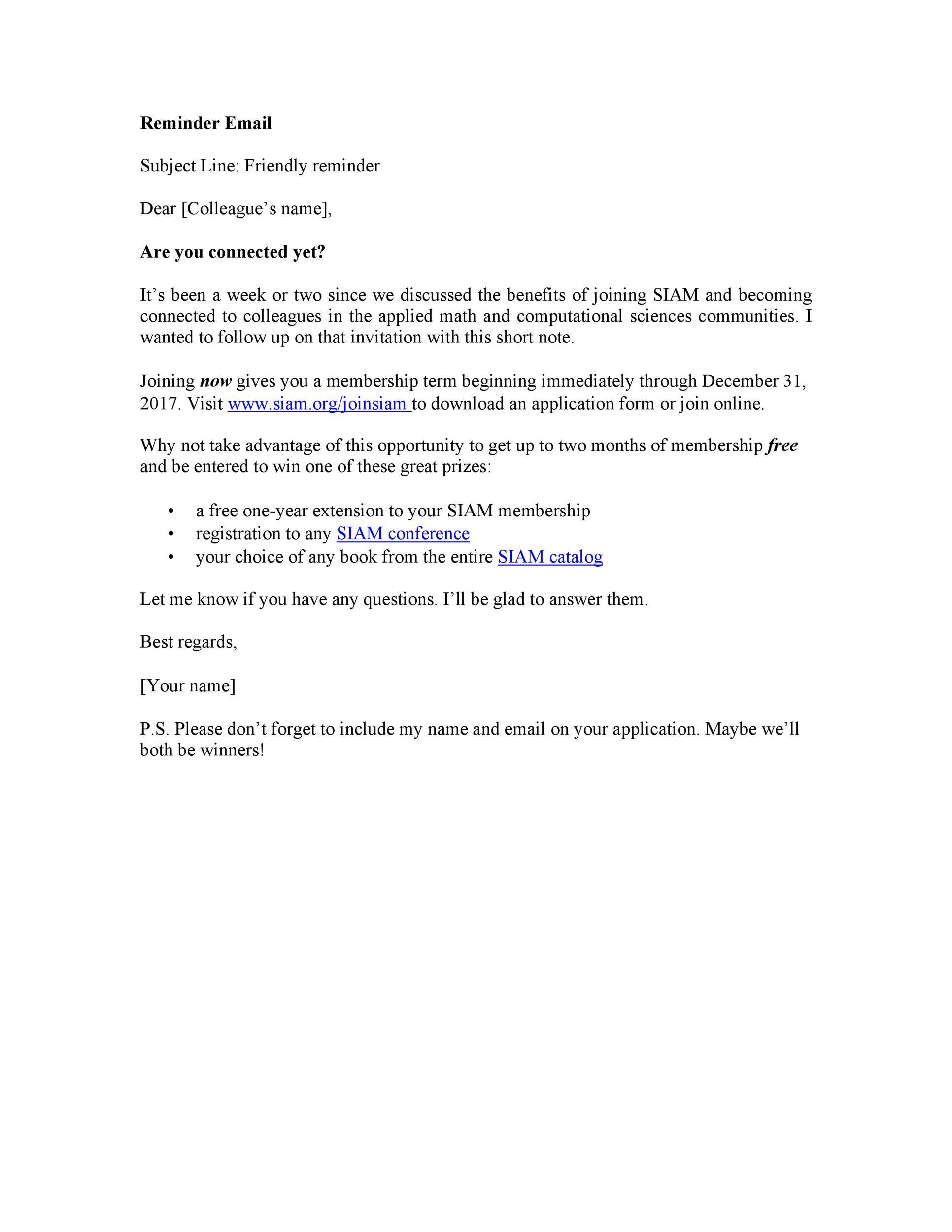 Free reminder email sample 50