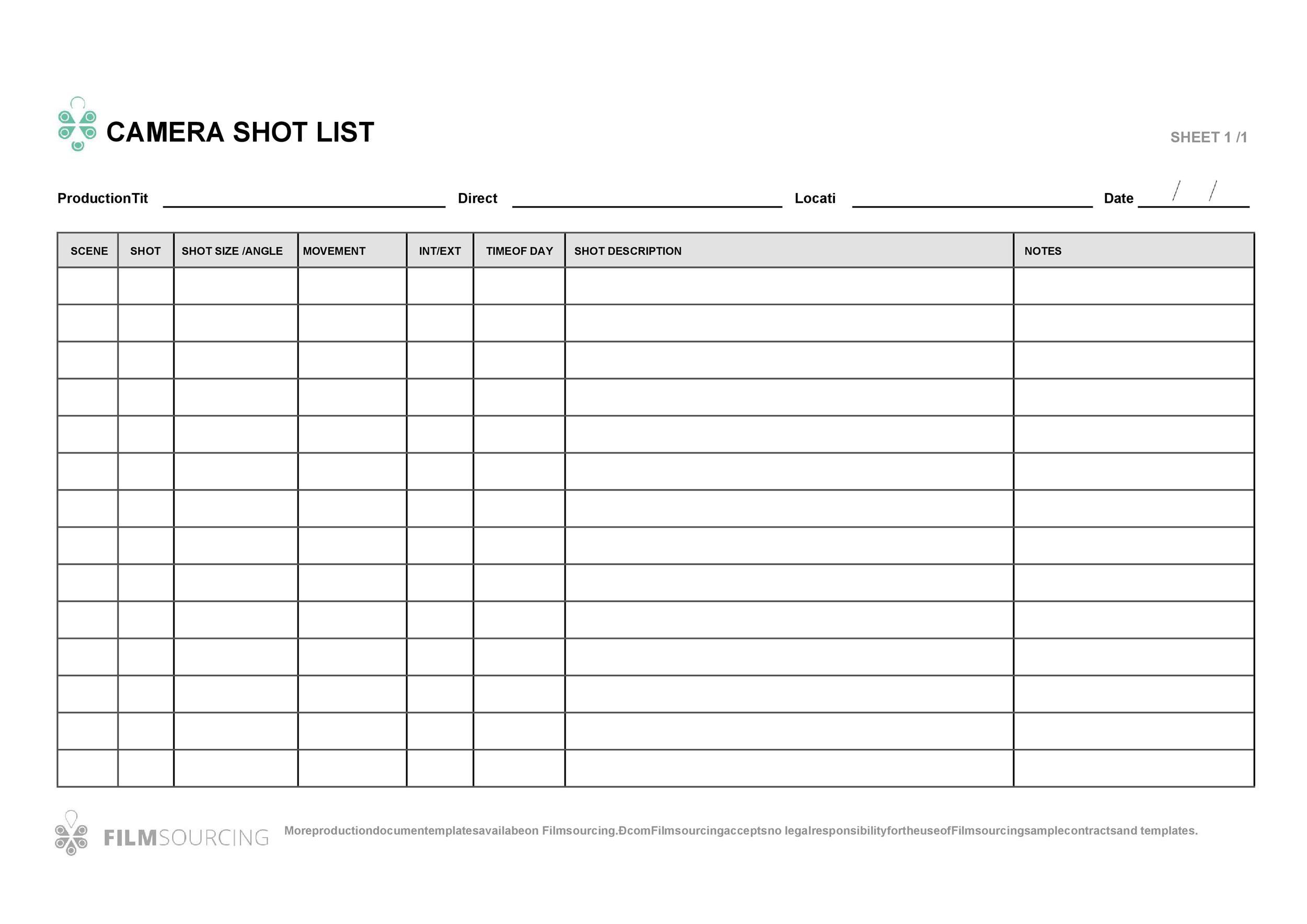 Free shot list template 02