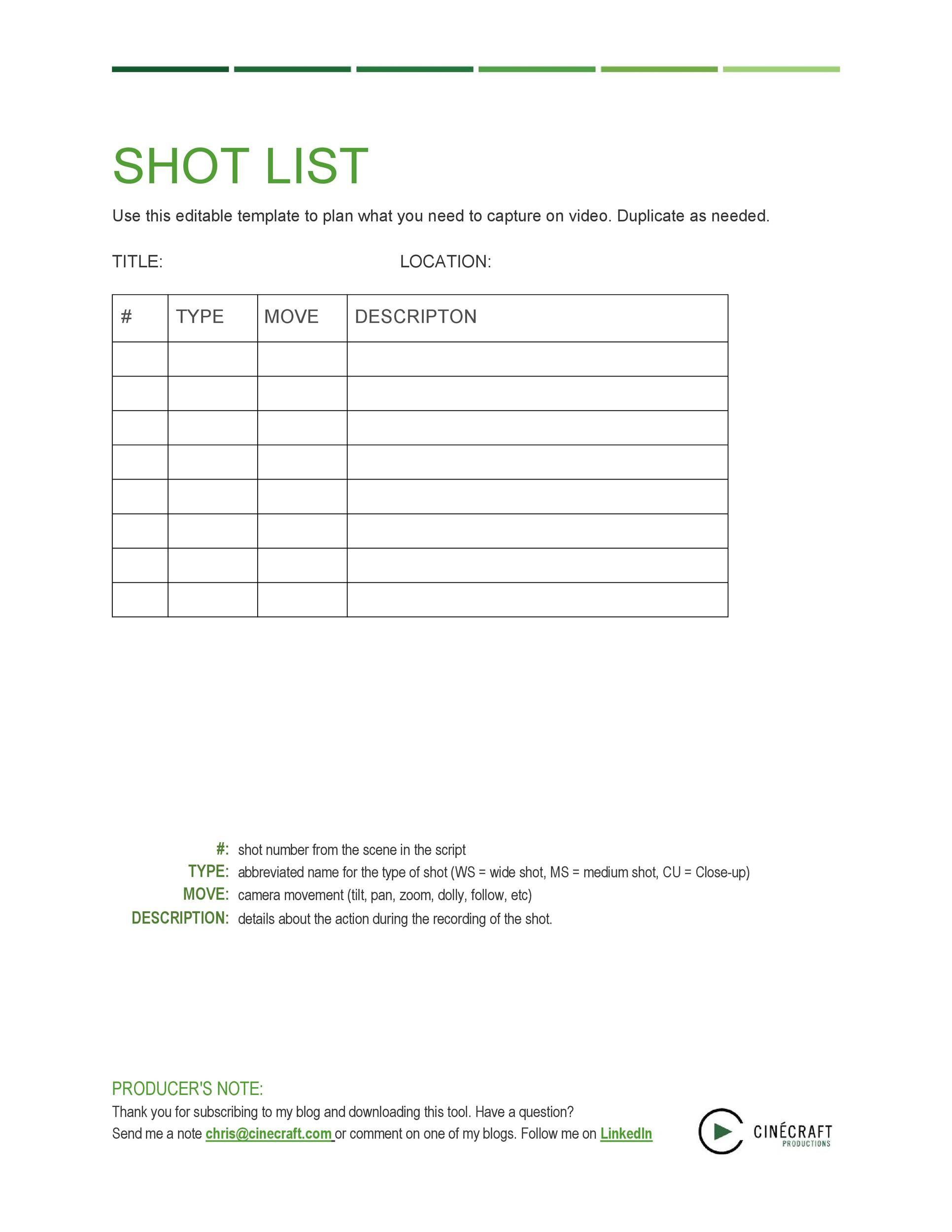 Free shot list template 15