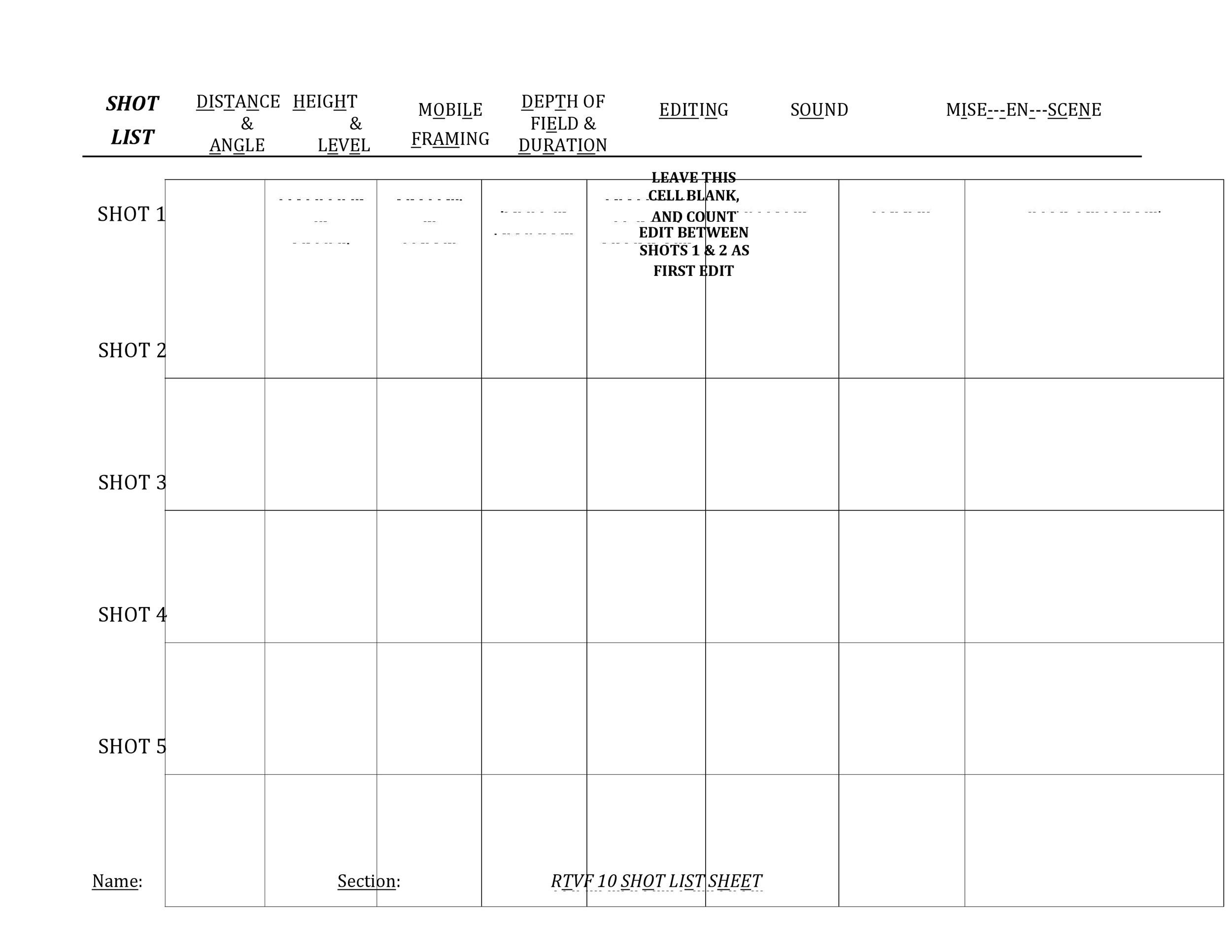 Free shot list template 19