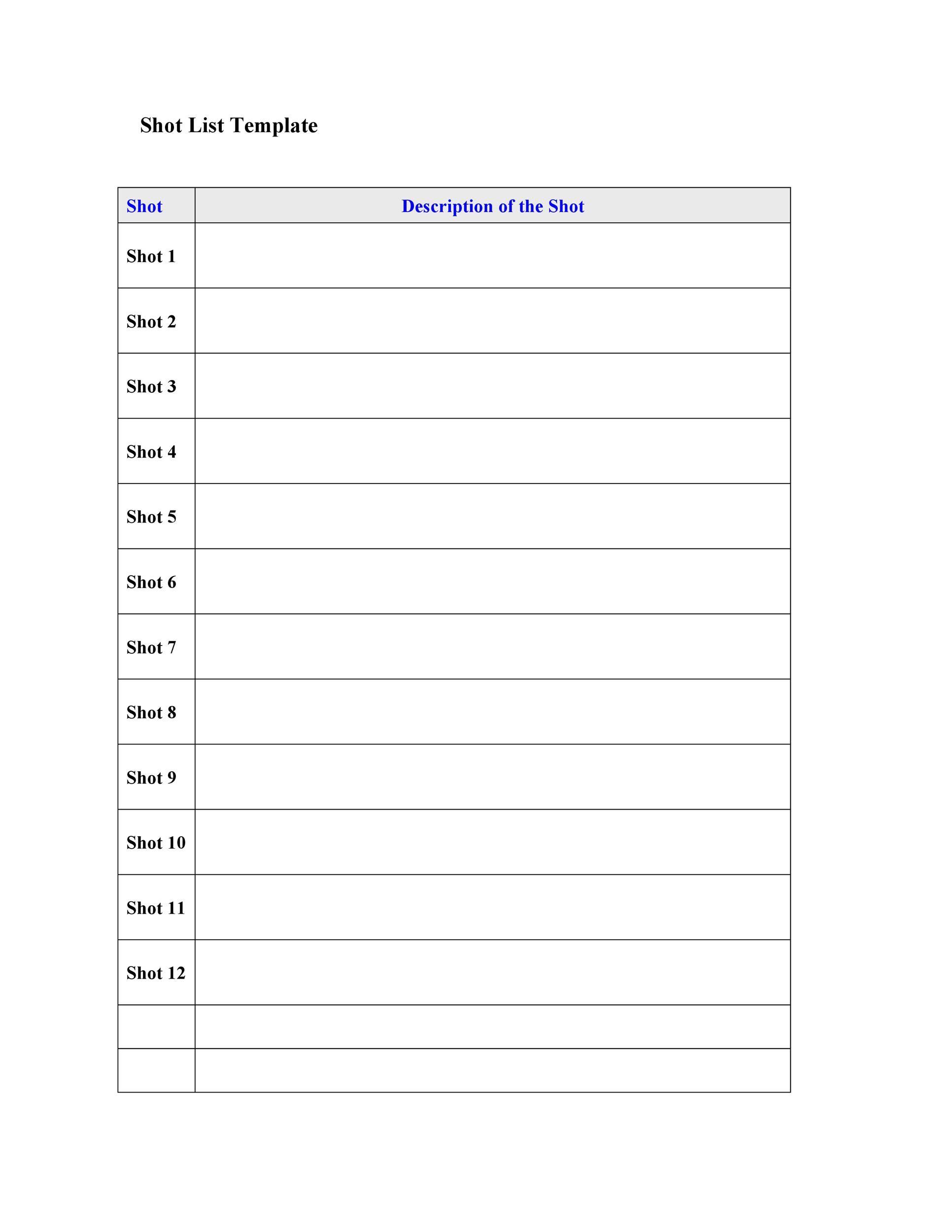 Free shot list template 21