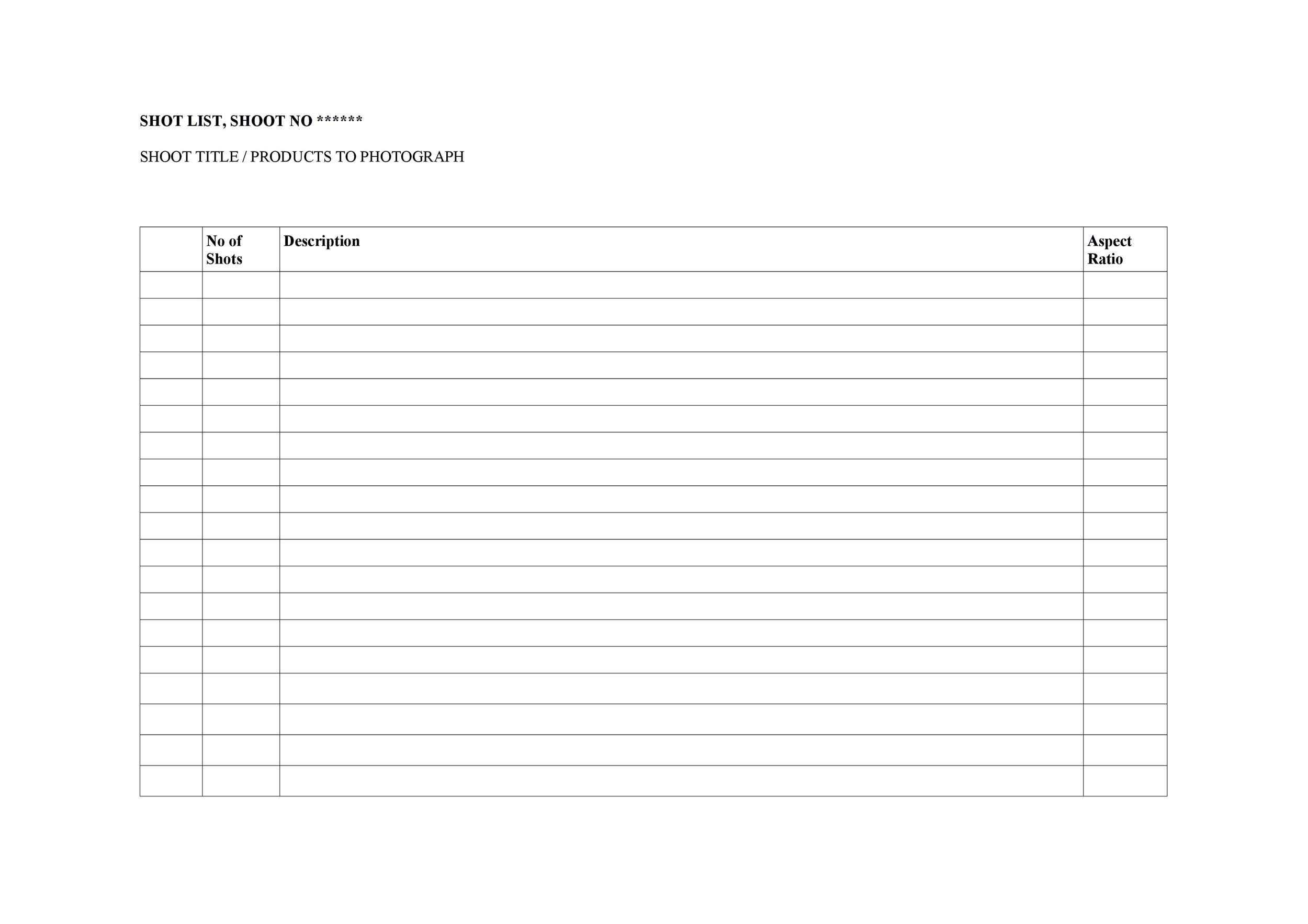 Free shot list template 24