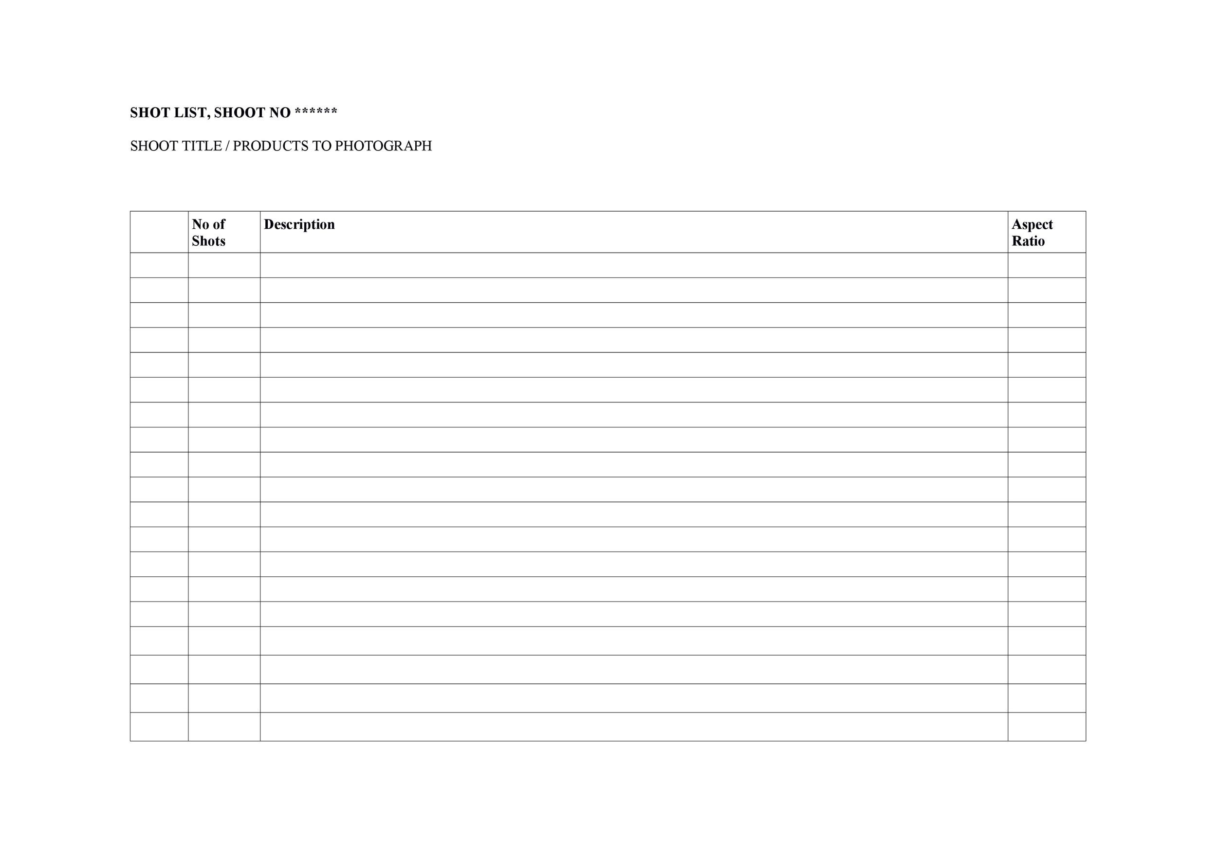 Free shot list template 24