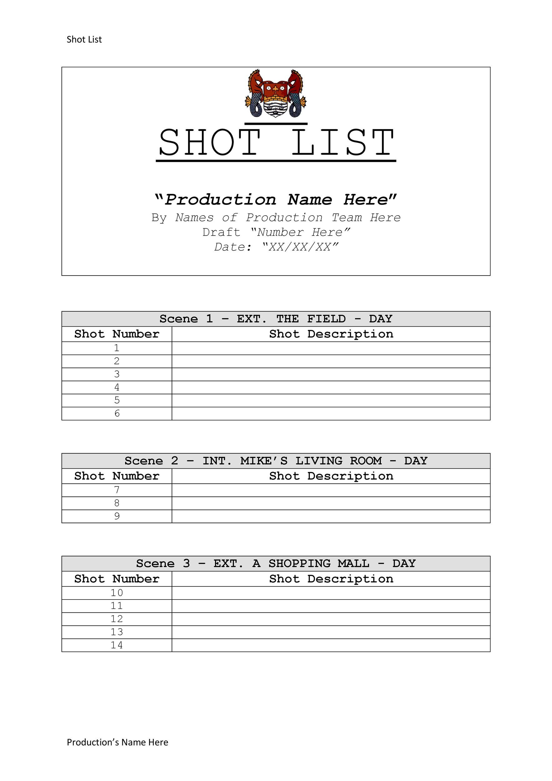 Free shot list template 27