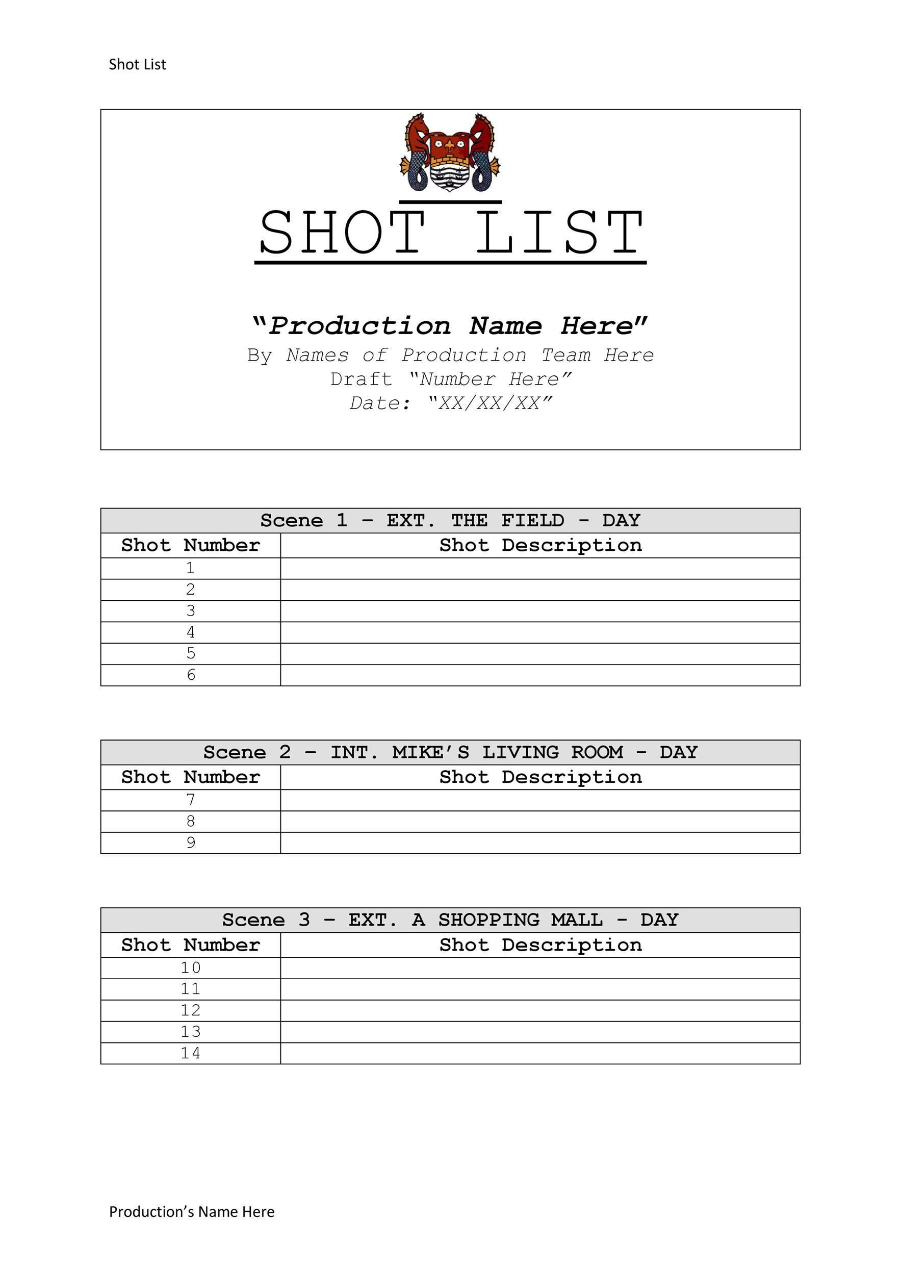 Free shot list template 27
