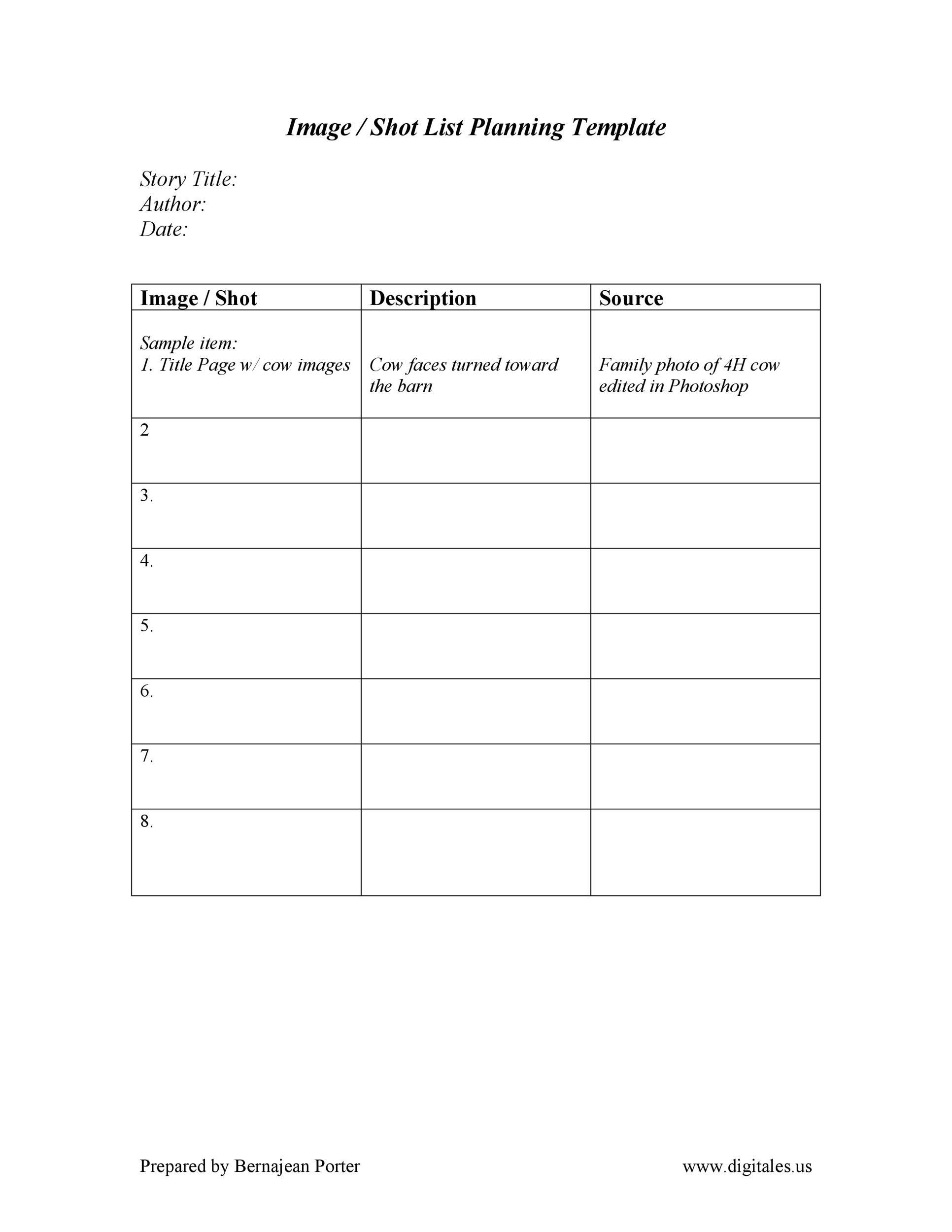 Free shot list template 28