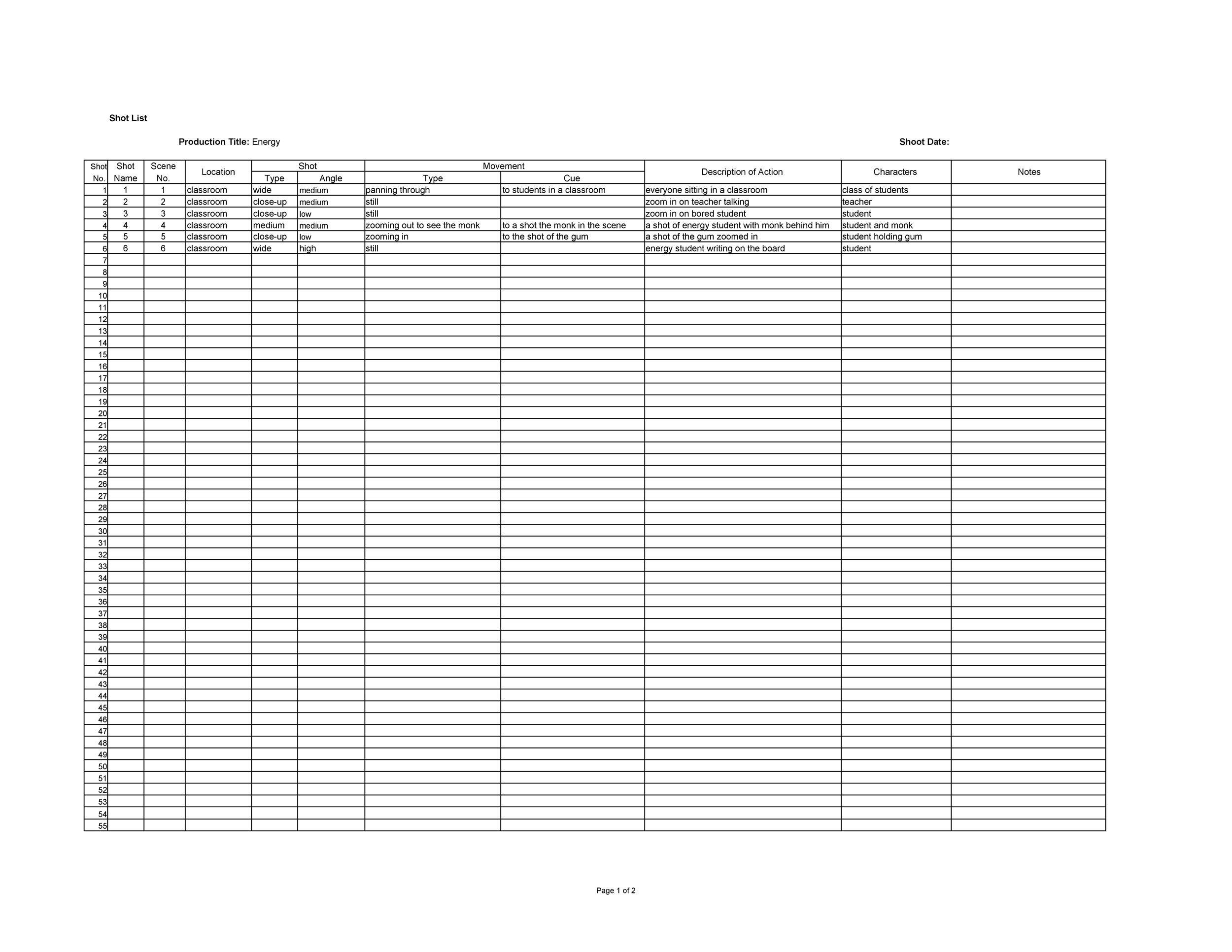 Free shot list template 29