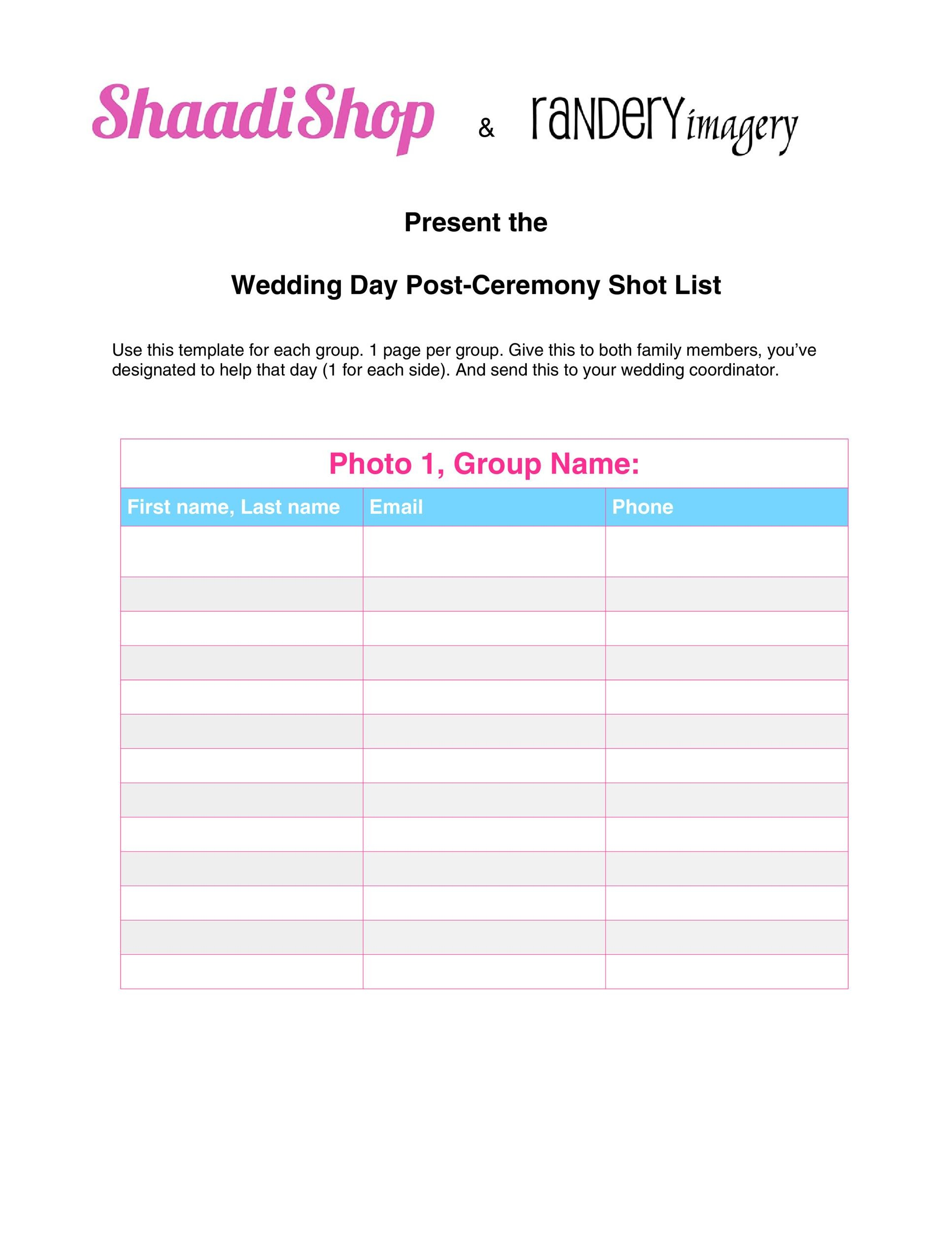 Free shot list template 30