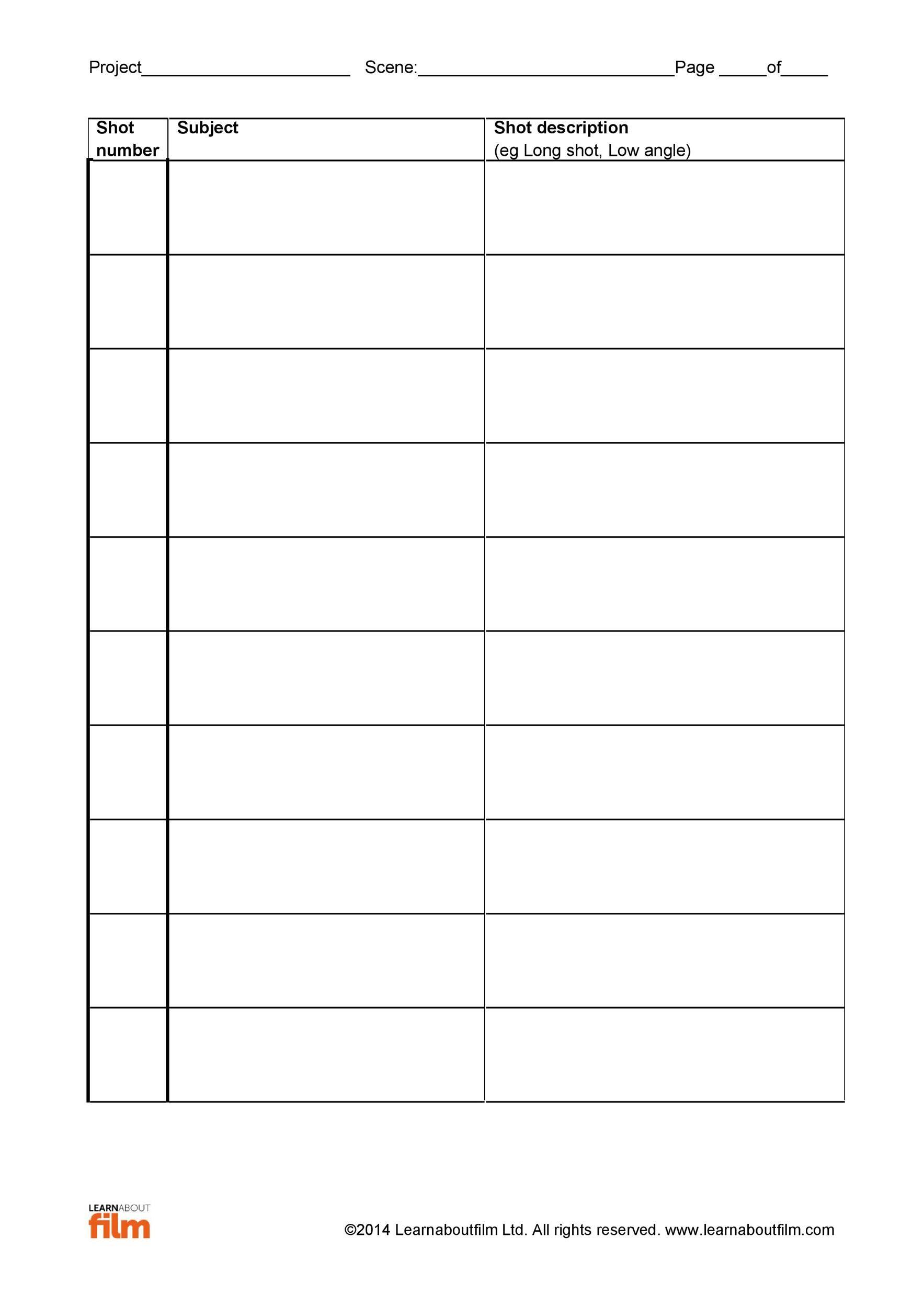 Free shot list template 34
