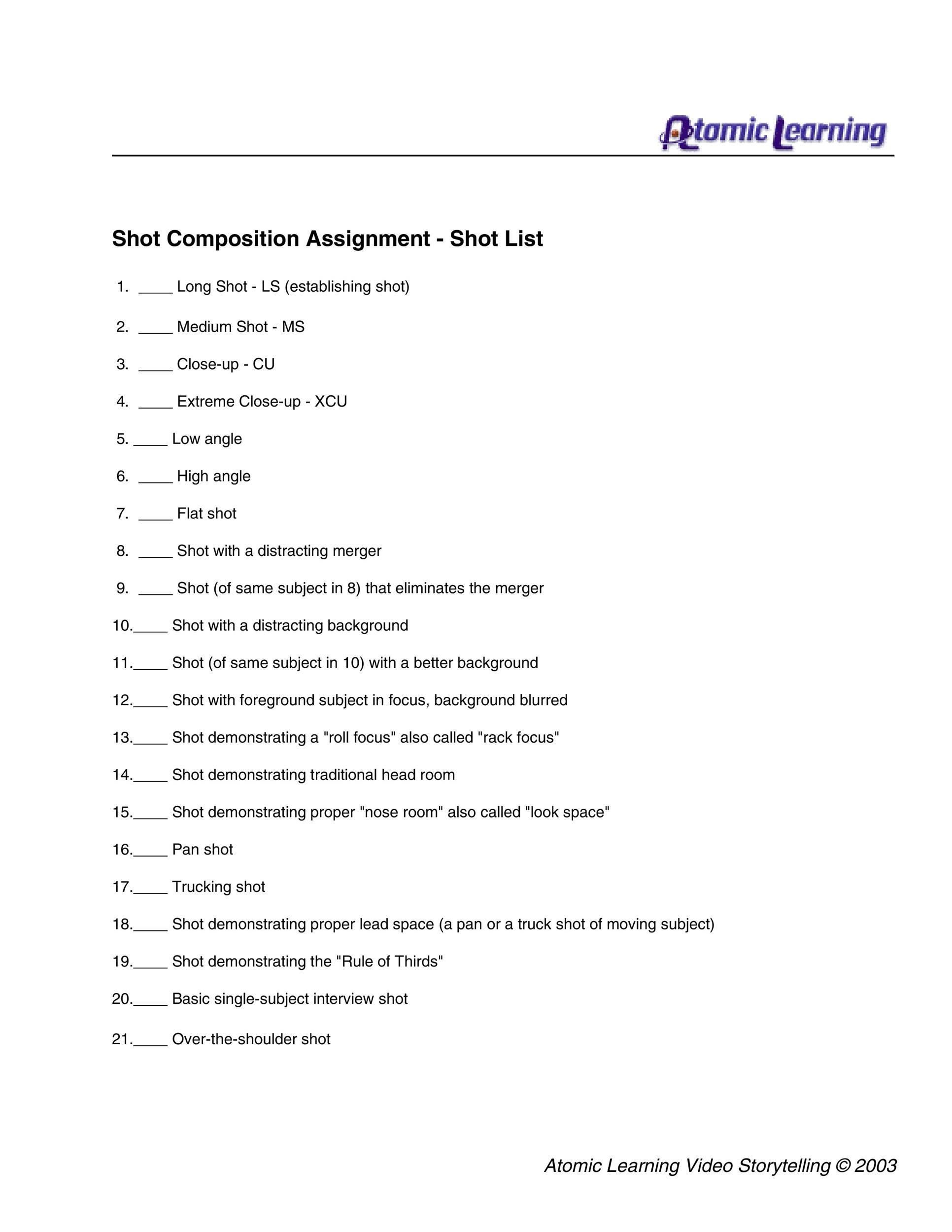 Free shot list template 37