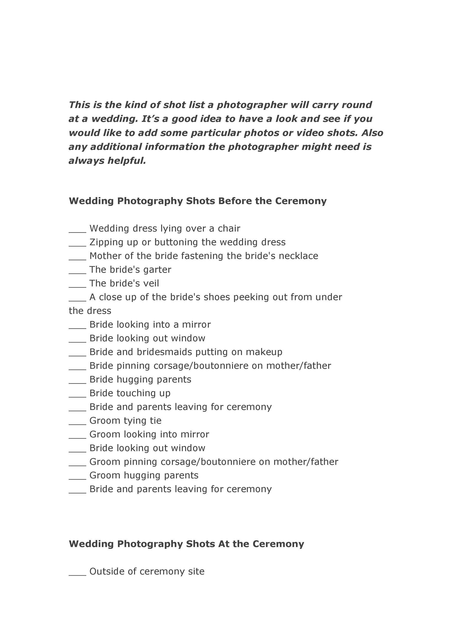 Free shot list template 38