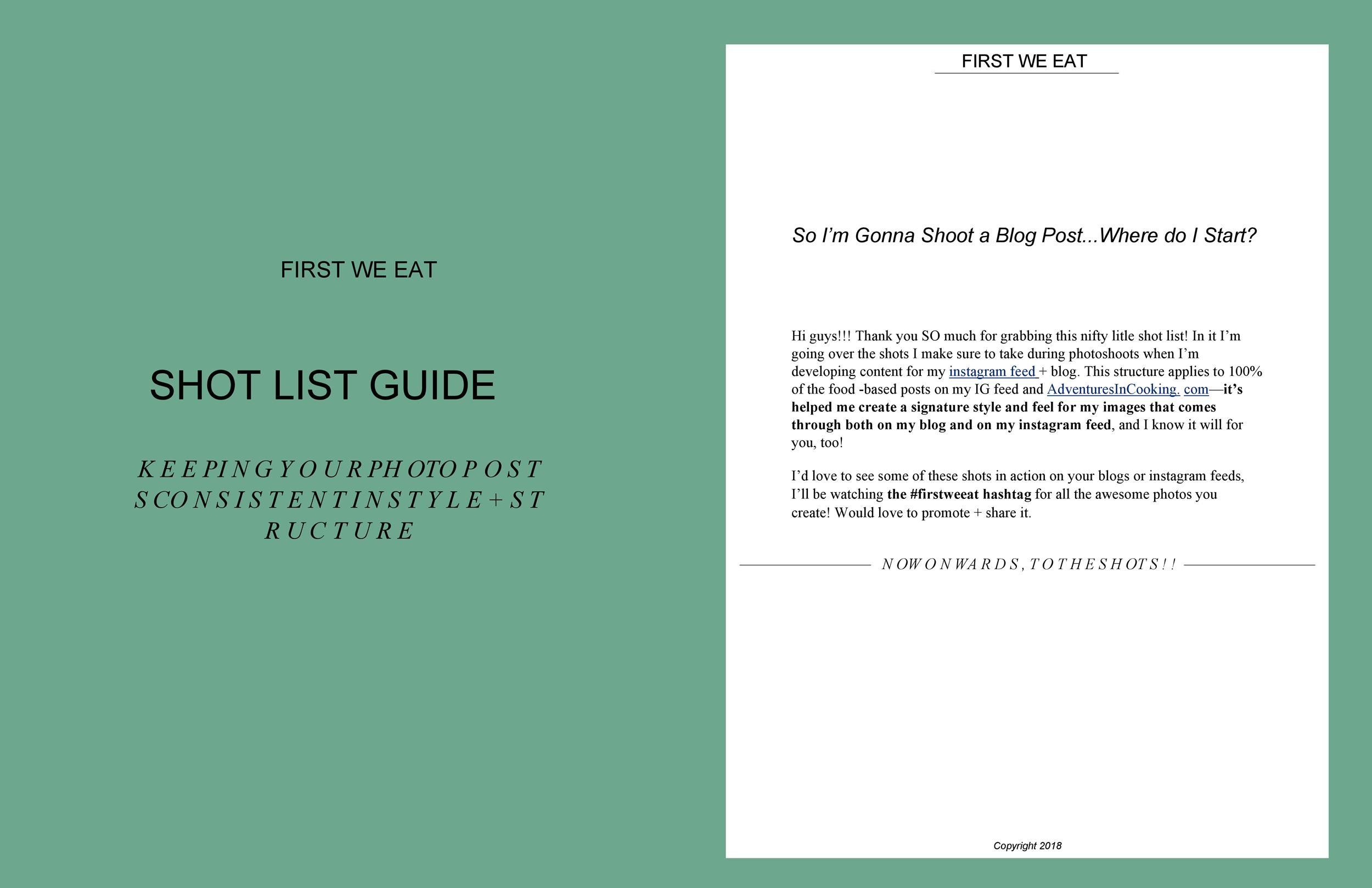 Free shot list template 40