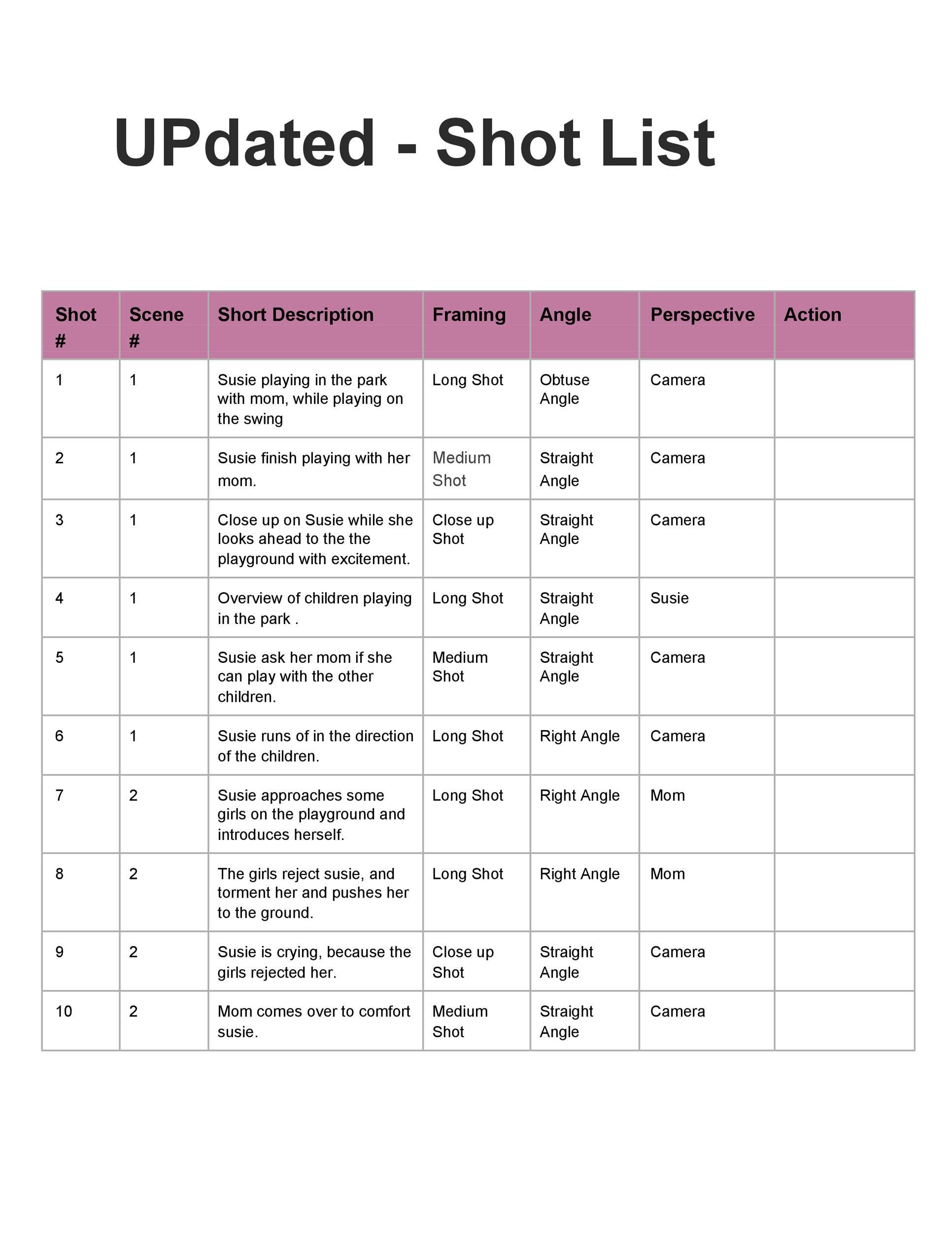 Free shot list template 45