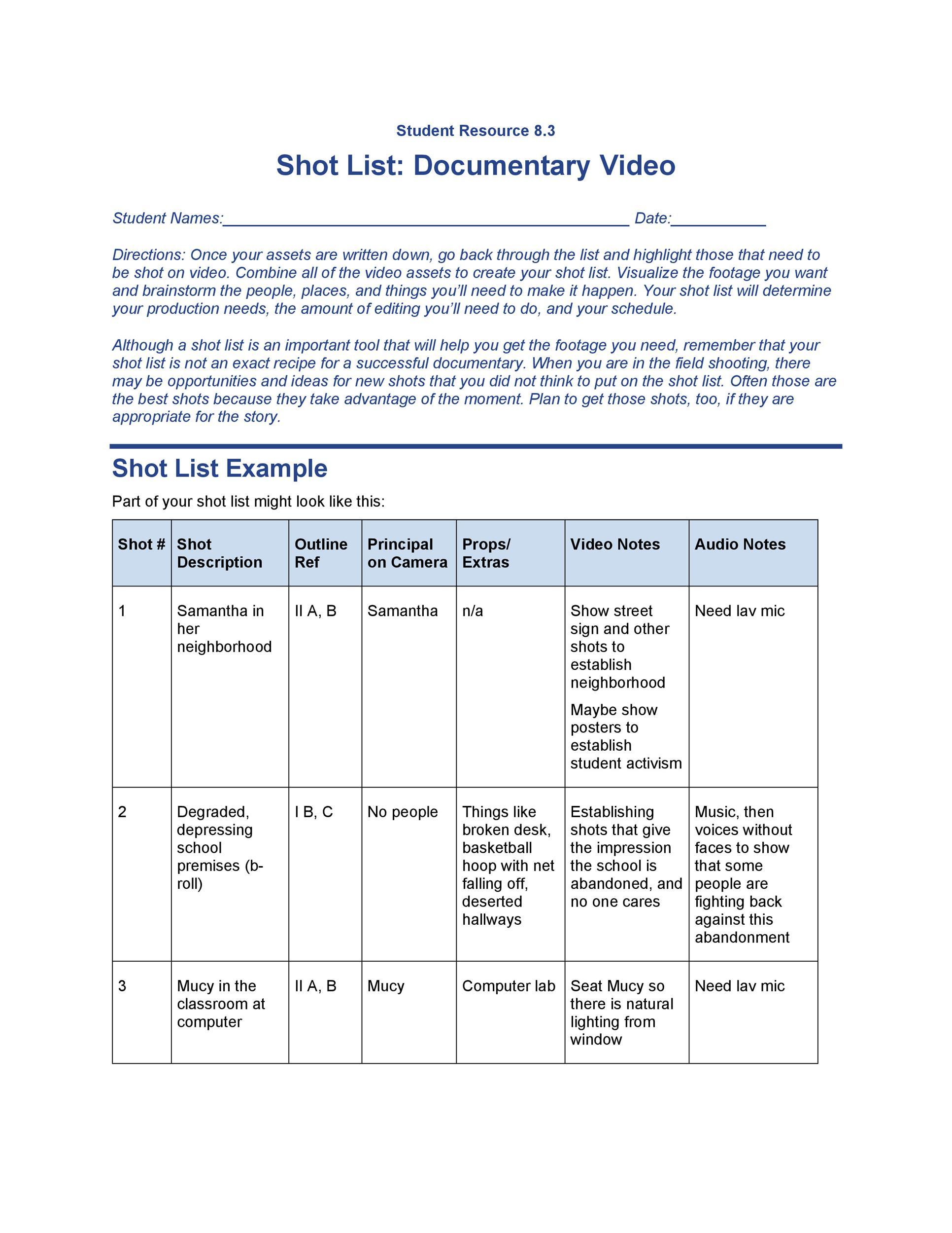 Free shot list template 48