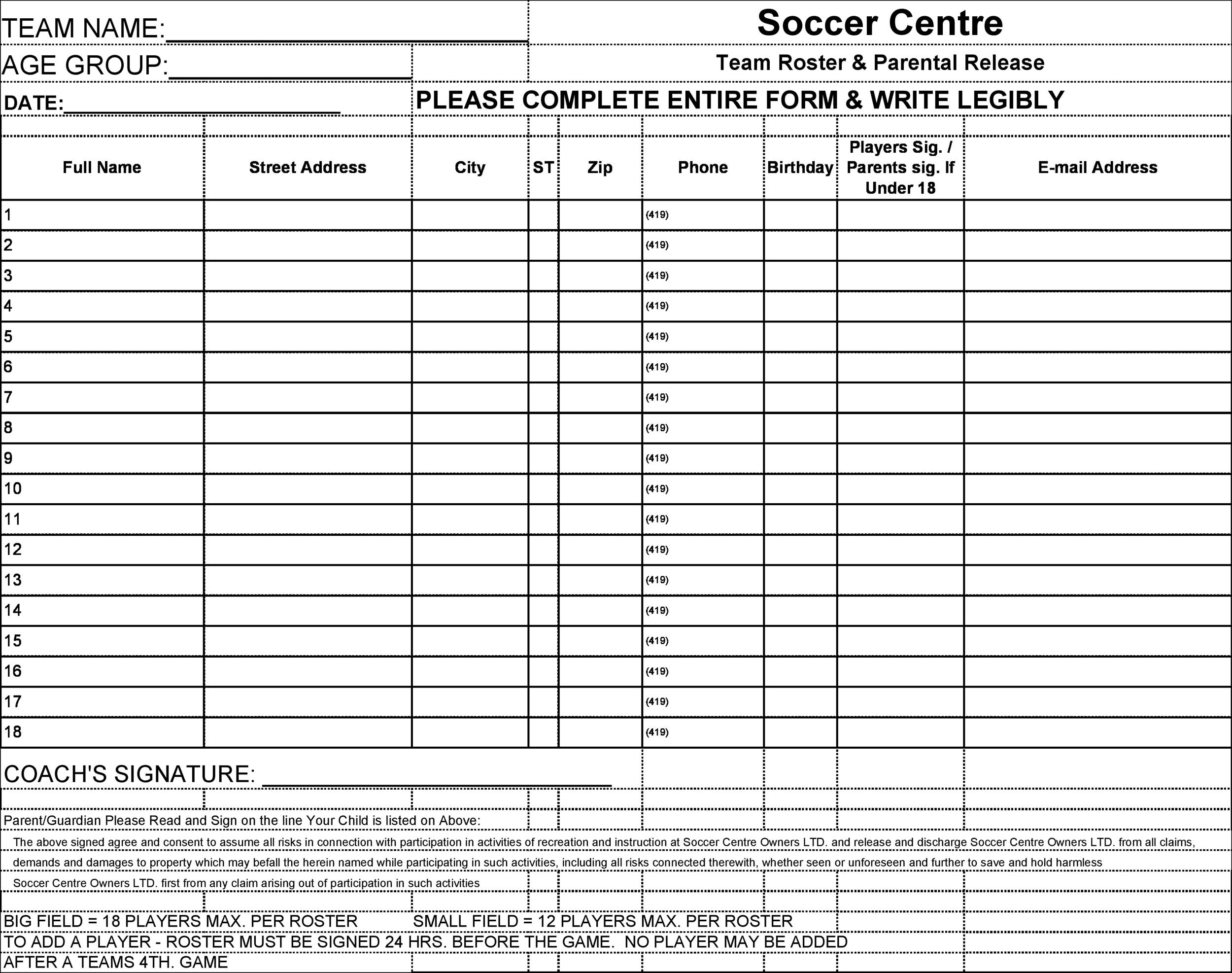 Free soccer roster template 04