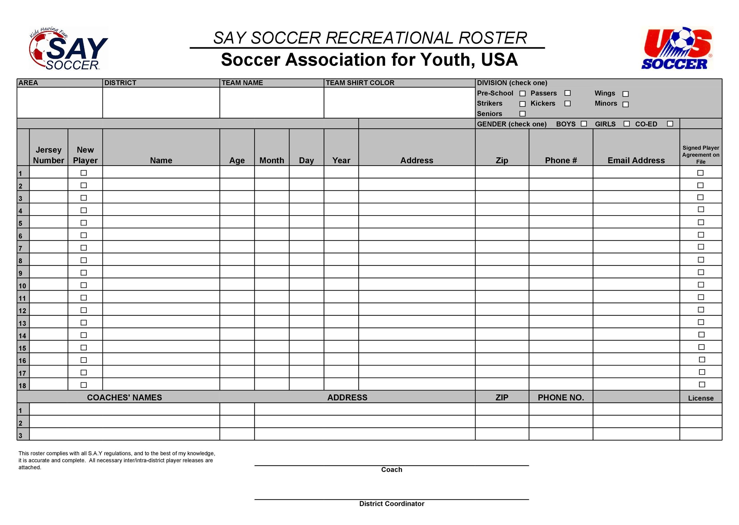 Free soccer roster template 09