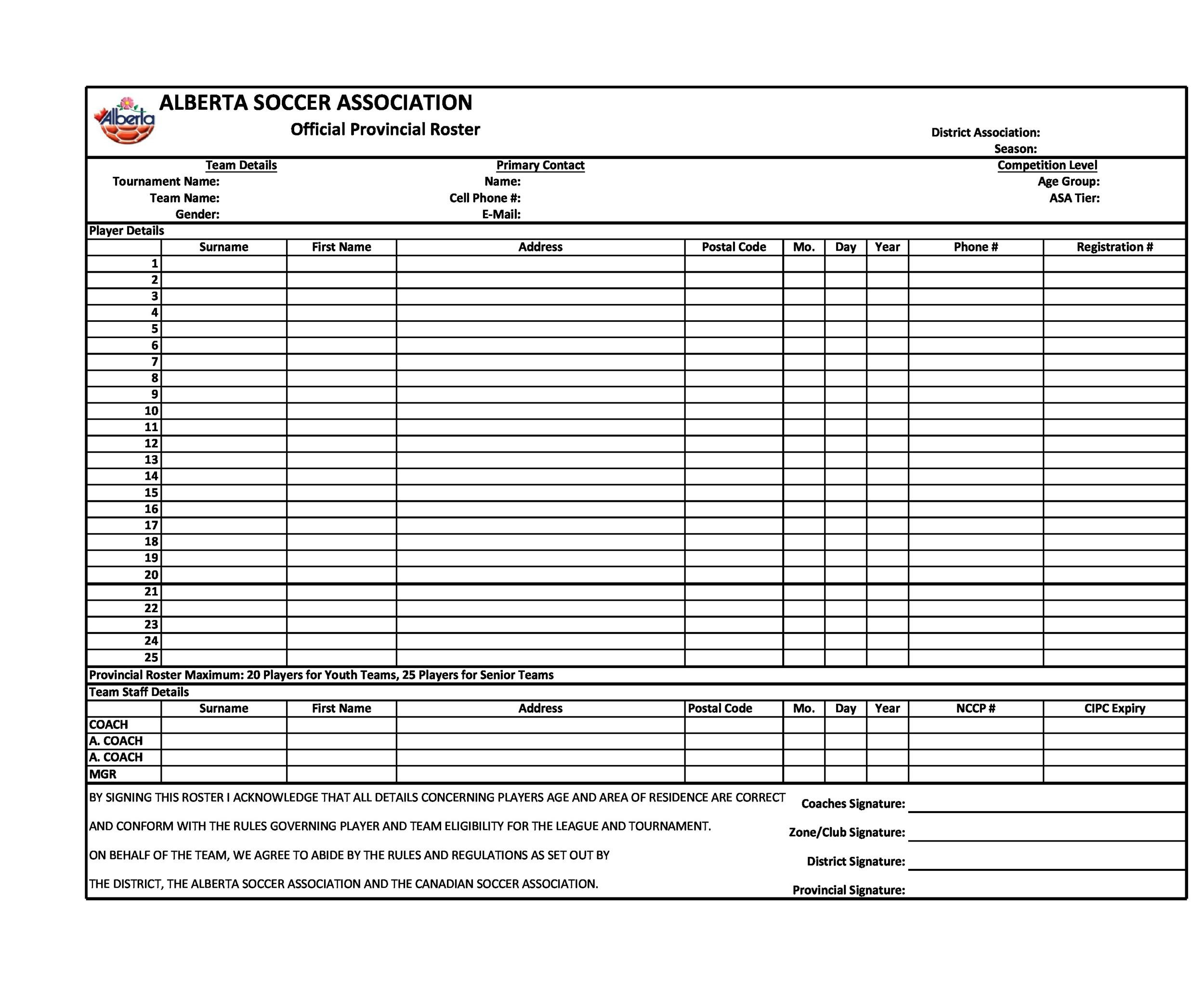Free soccer roster template 12
