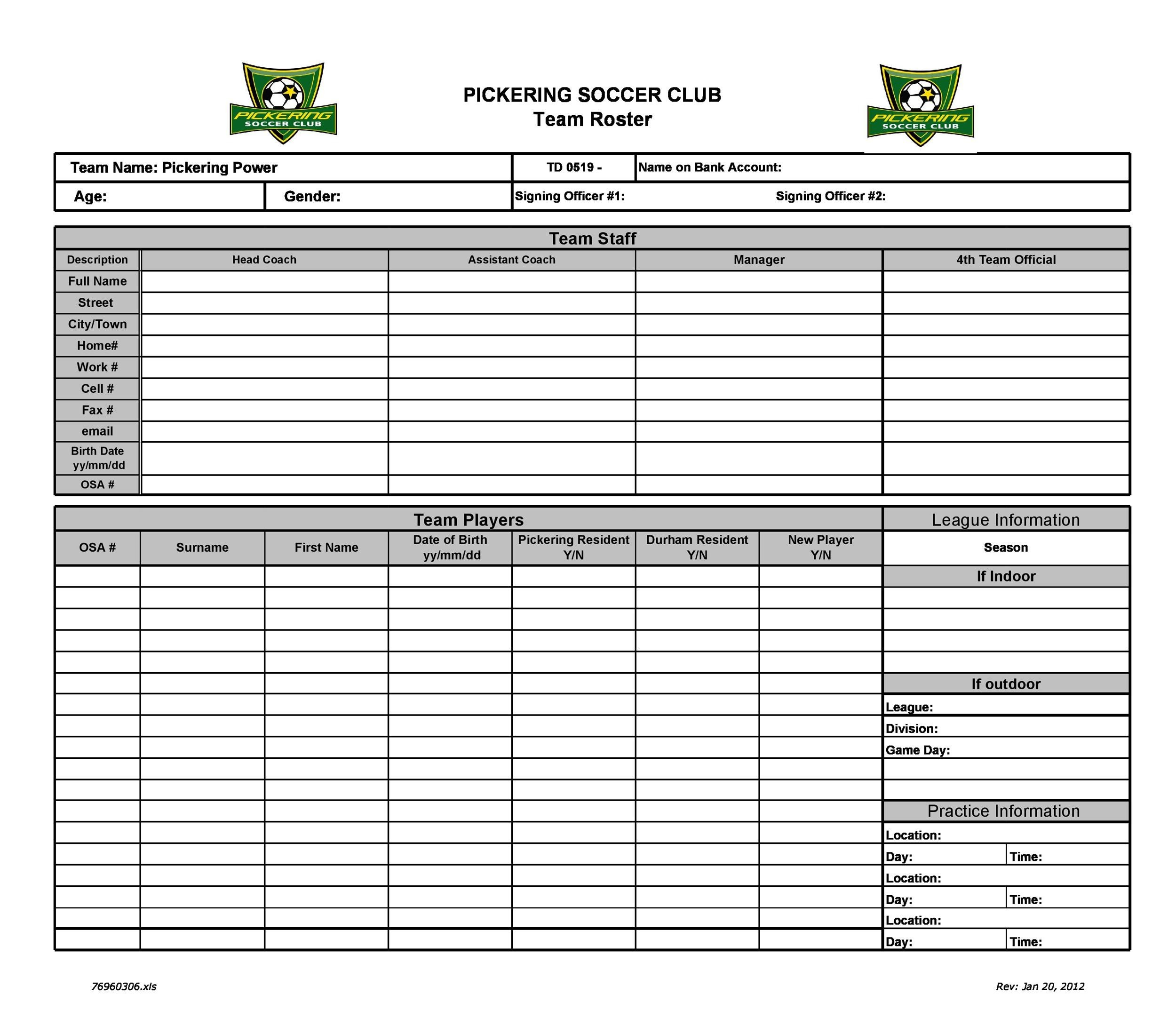 Free soccer roster template 17