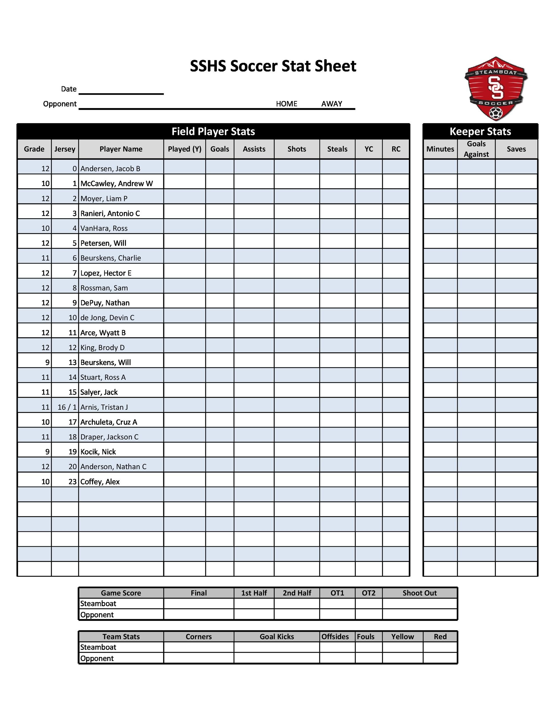 Free soccer roster template 19