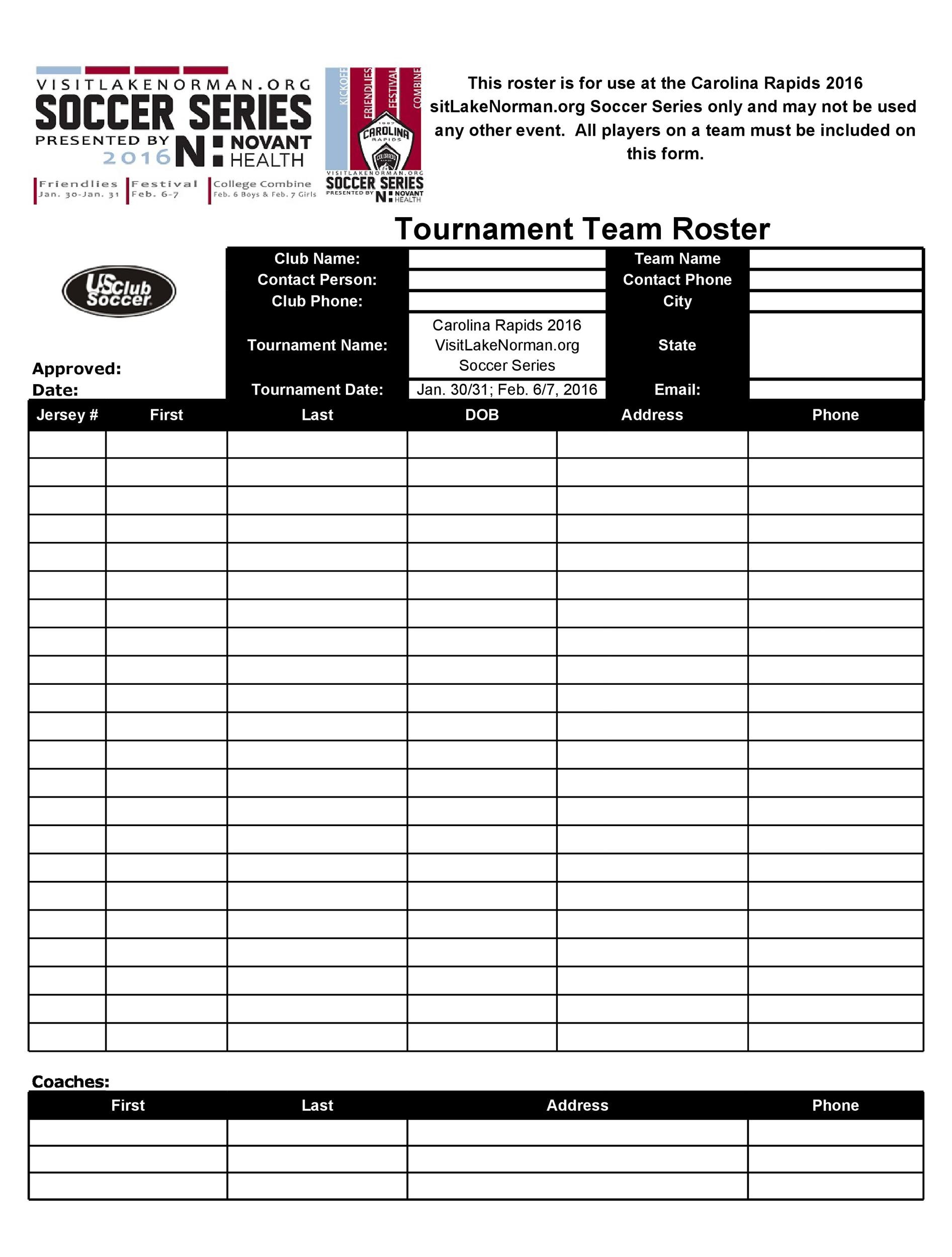 Free soccer roster template 20