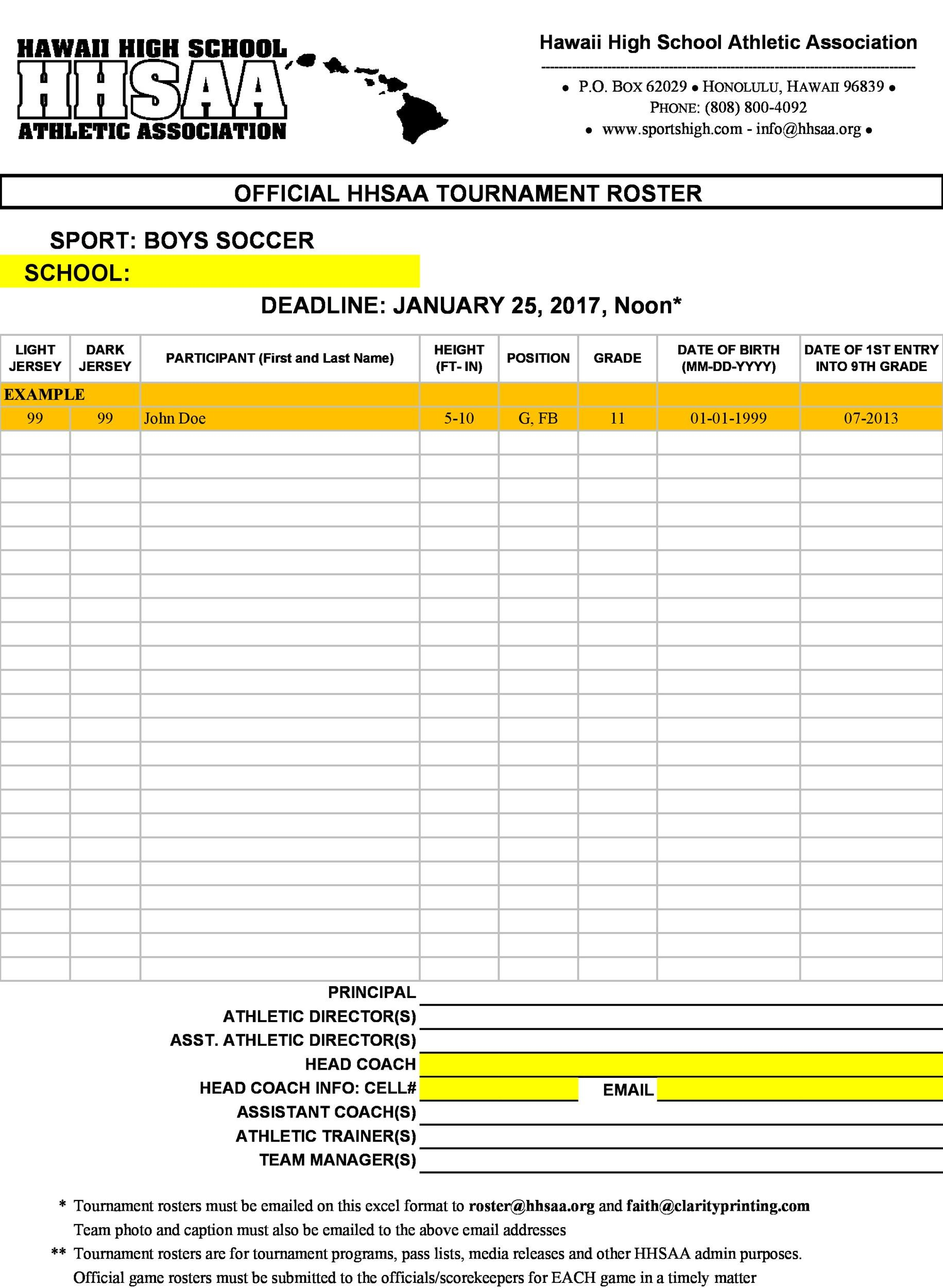 Free soccer roster template 22