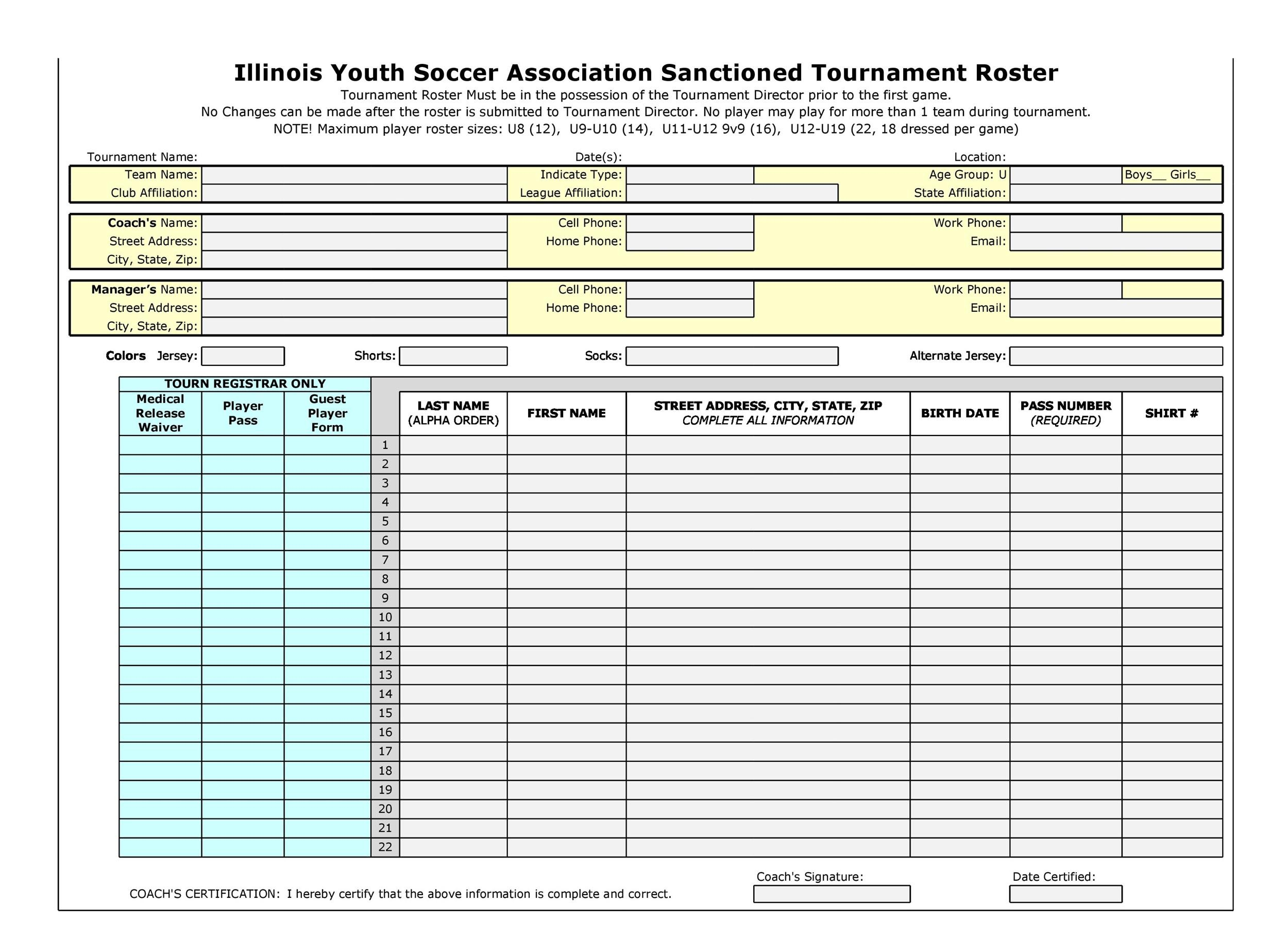Free soccer roster template 36