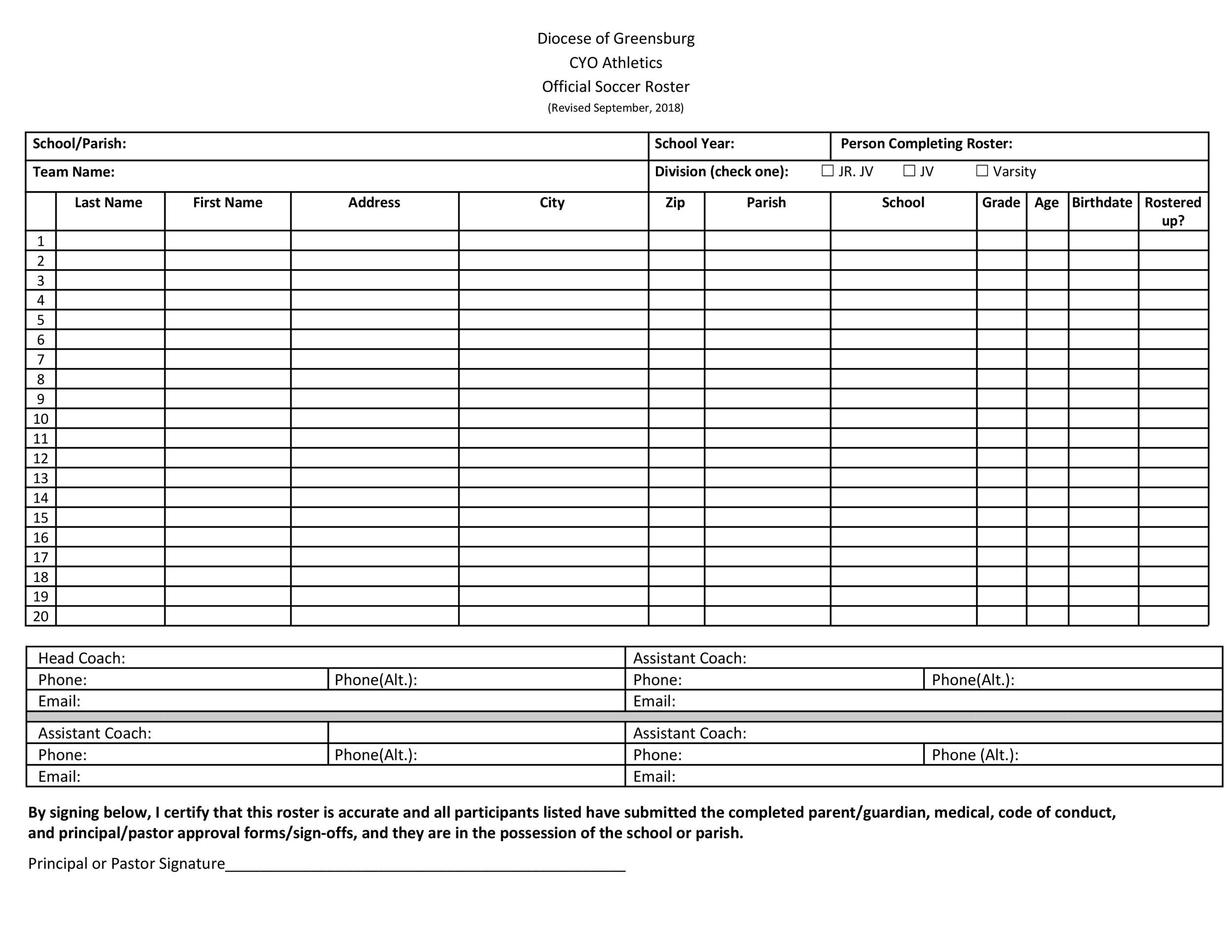 Free soccer roster template 43
