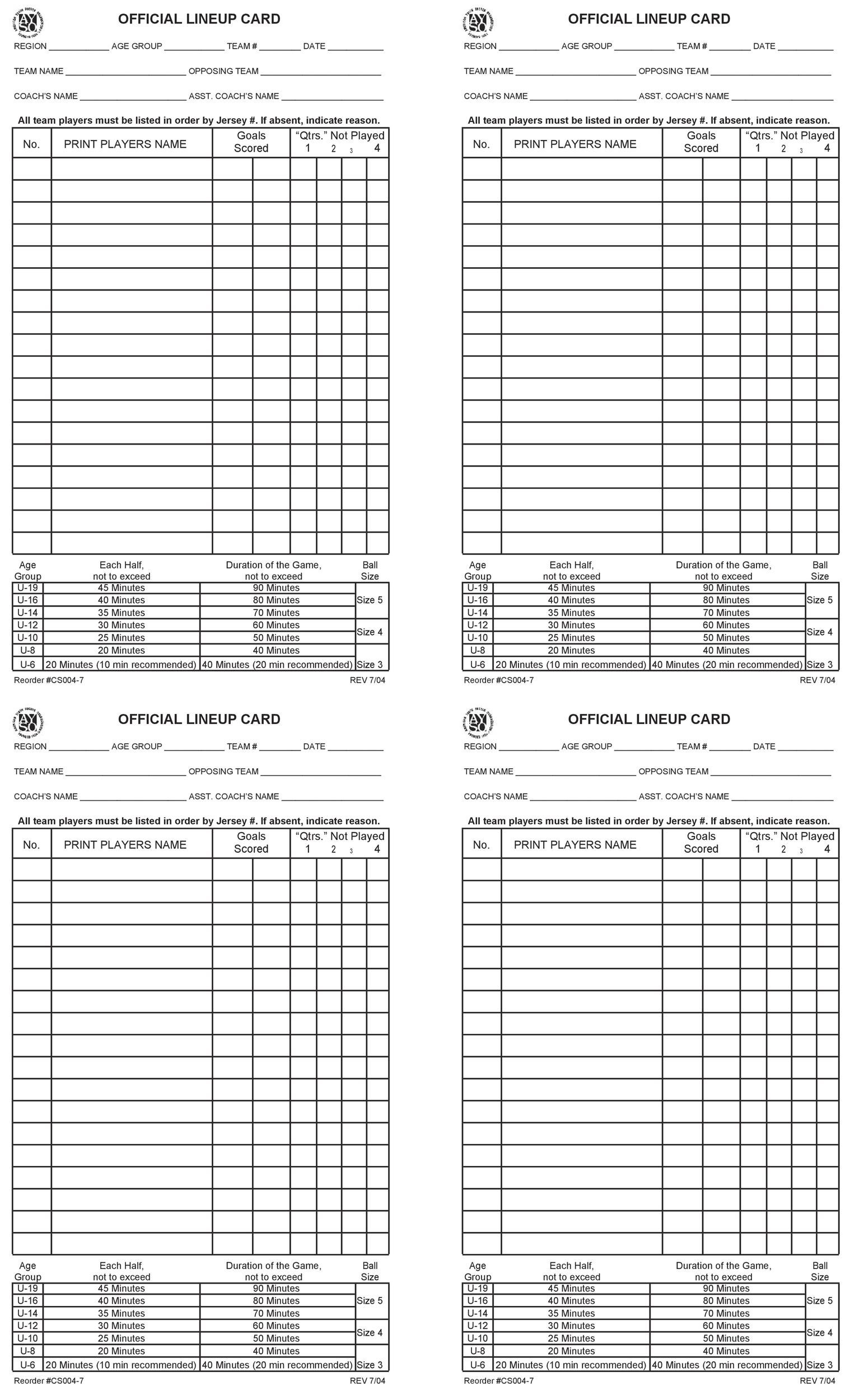 Free soccer roster template 47