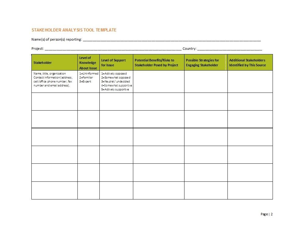 Free stakeholder analysis template 01